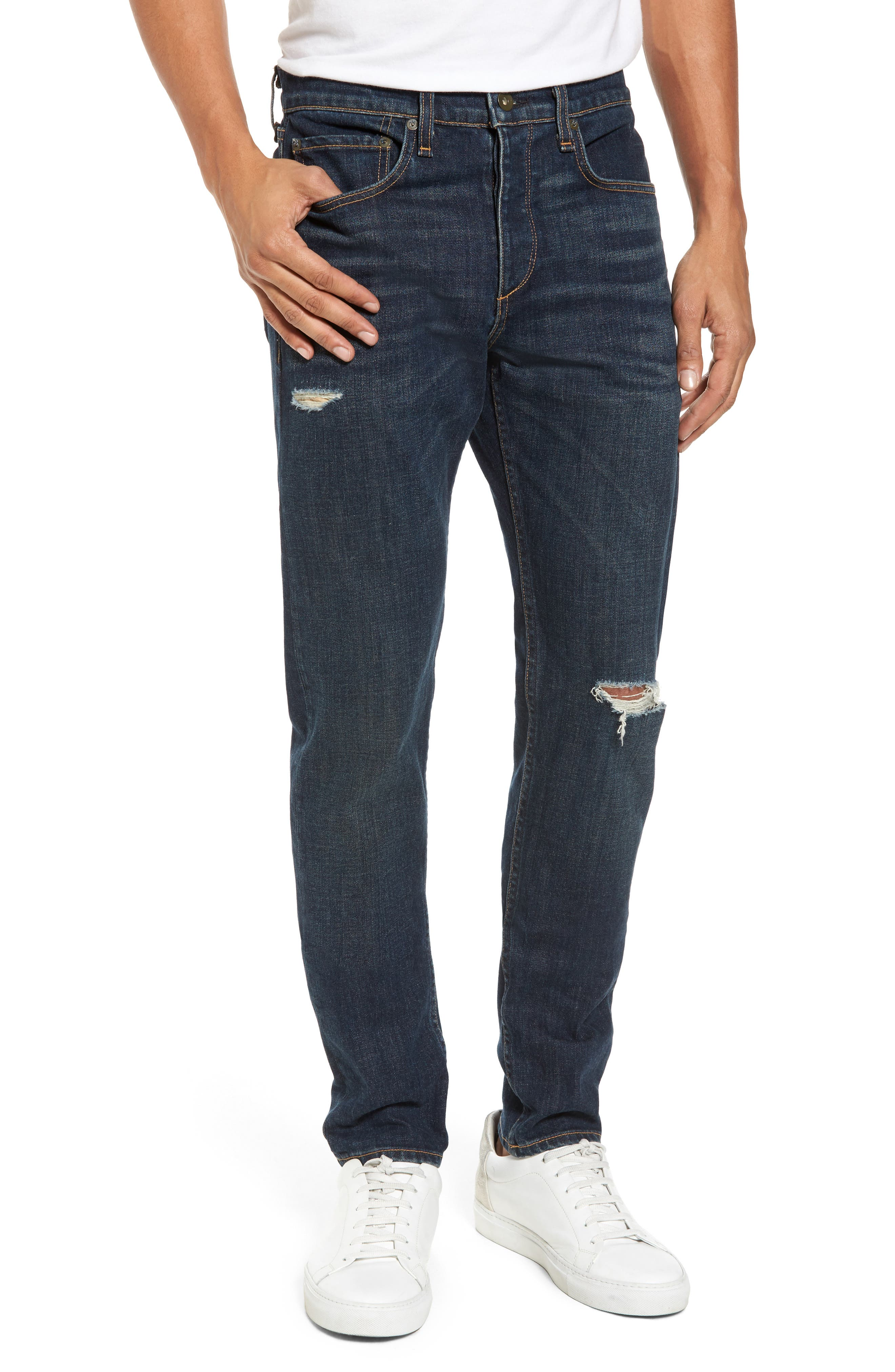 Fit 1 Skinny Fit Jeans,                         Main,                         color, Platt With Holes