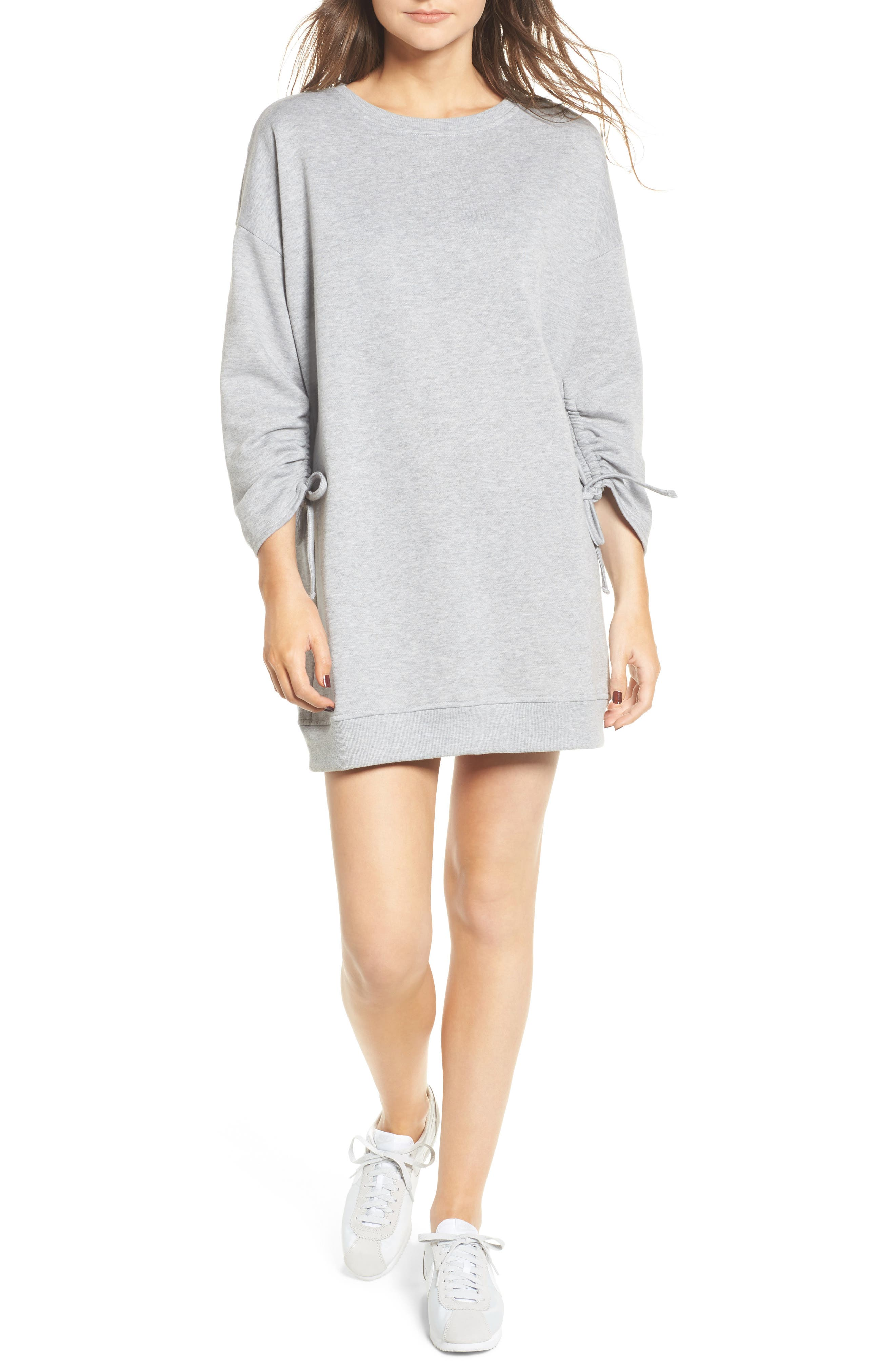 Ruched Sleeve Sweatshirt Dress,                         Main,                         color, Heather Grey