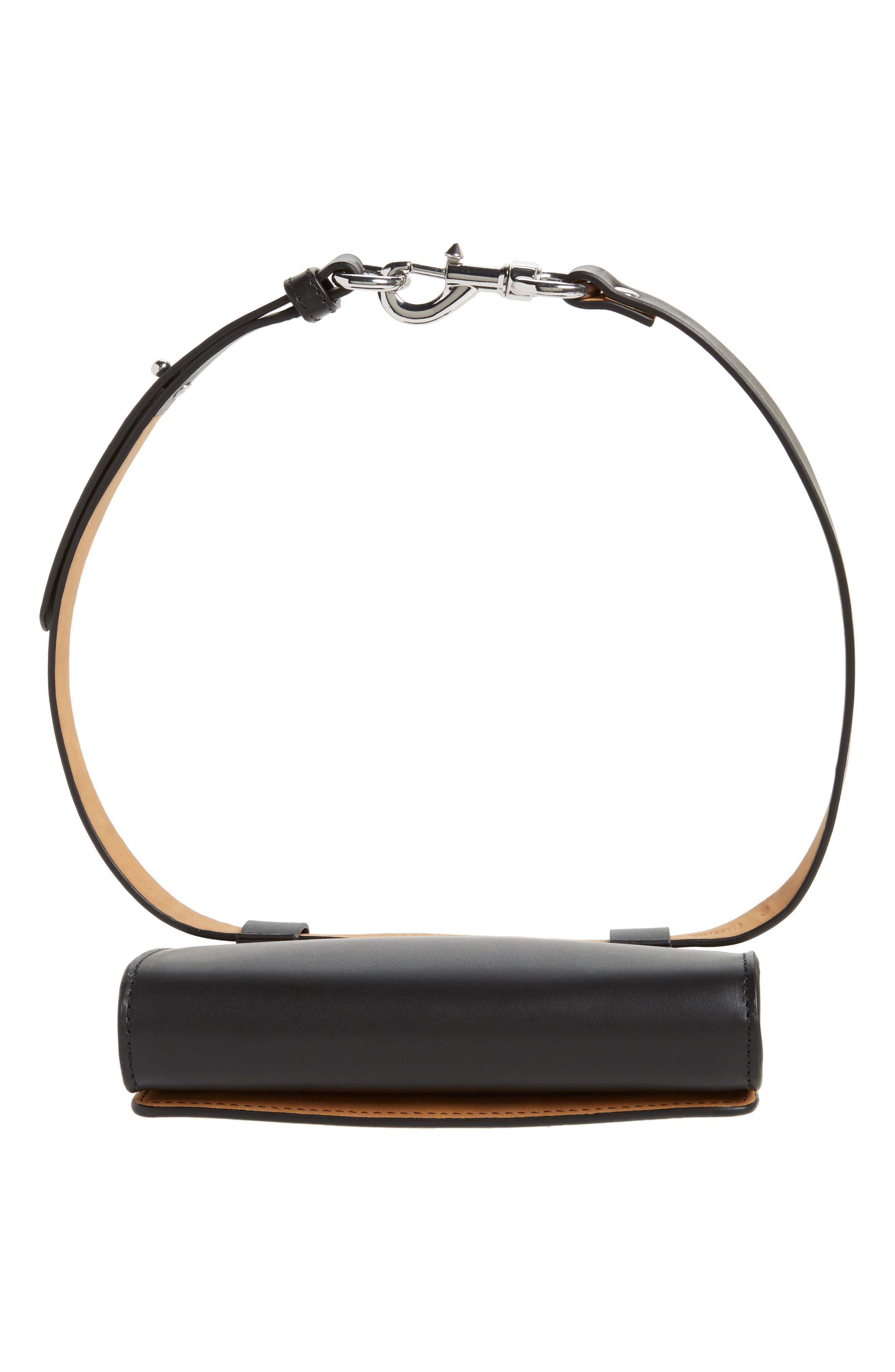 Erin Studded Calfskin Leather Belt Bag,                             Alternate thumbnail 6, color,                             Black