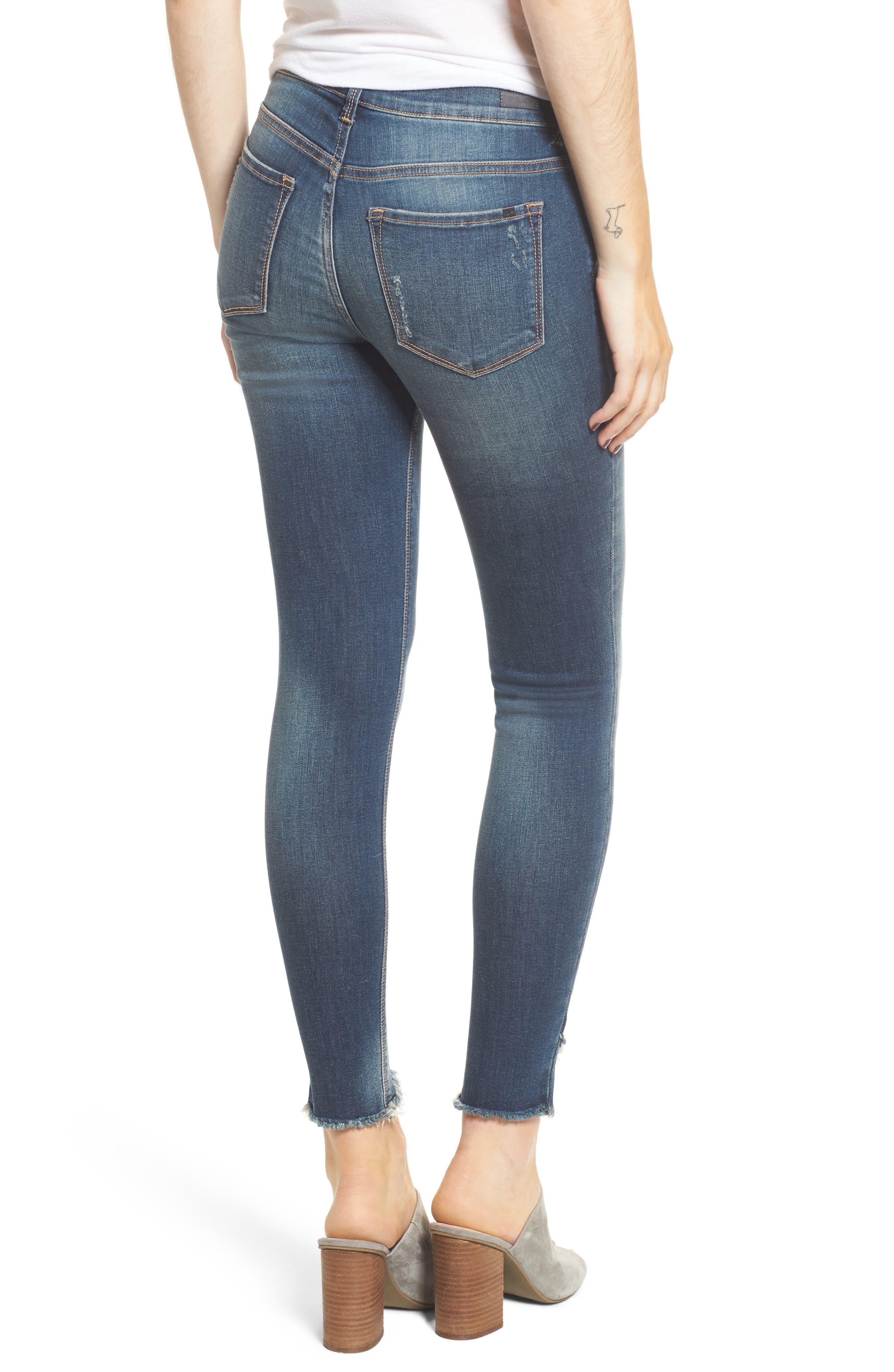 Ripped Raw Hem Skinny Jeans,                             Alternate thumbnail 2, color,                             Medium Dark
