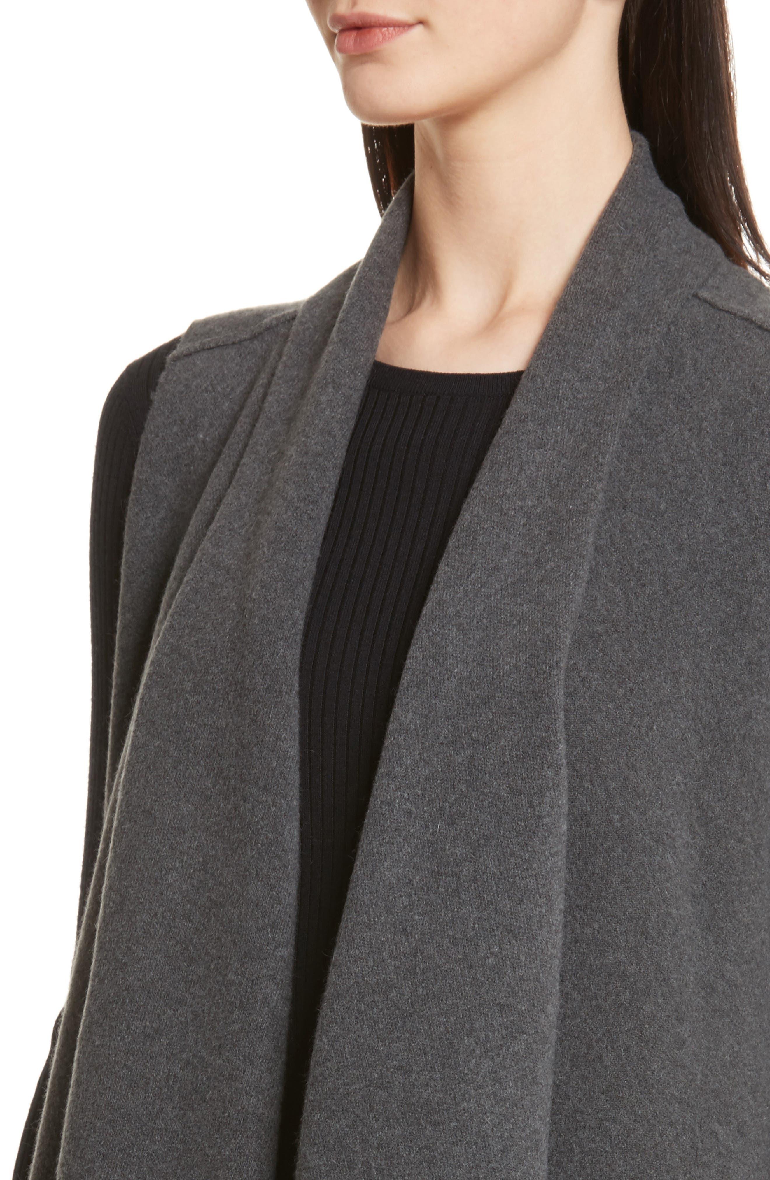 Sorin Merino Wool Blend Wrap Vest,                             Alternate thumbnail 4, color,                             Shale Melange