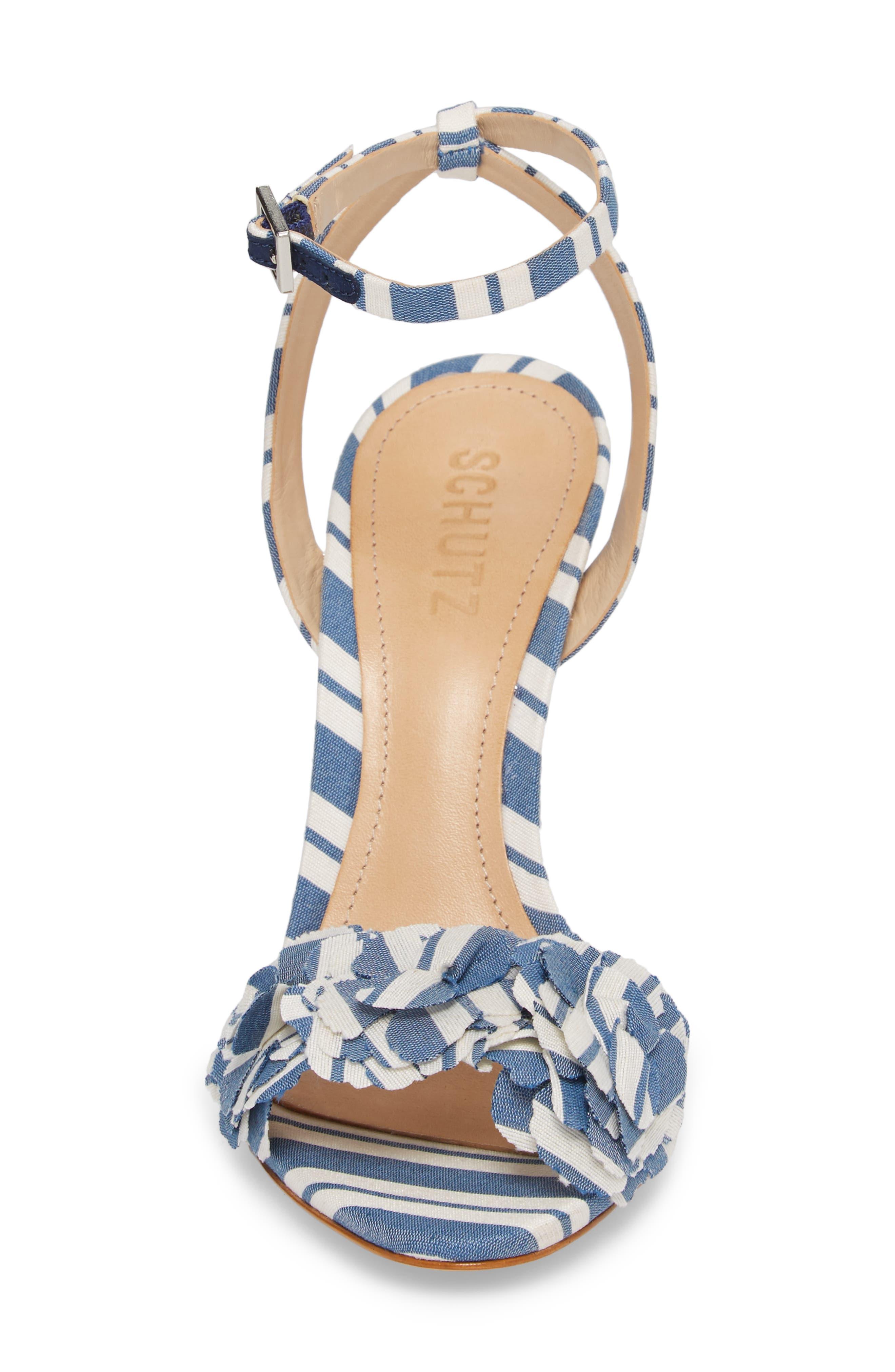 Aida Flower Appliqué Sandal,                             Alternate thumbnail 4, color,                             Dress Blue