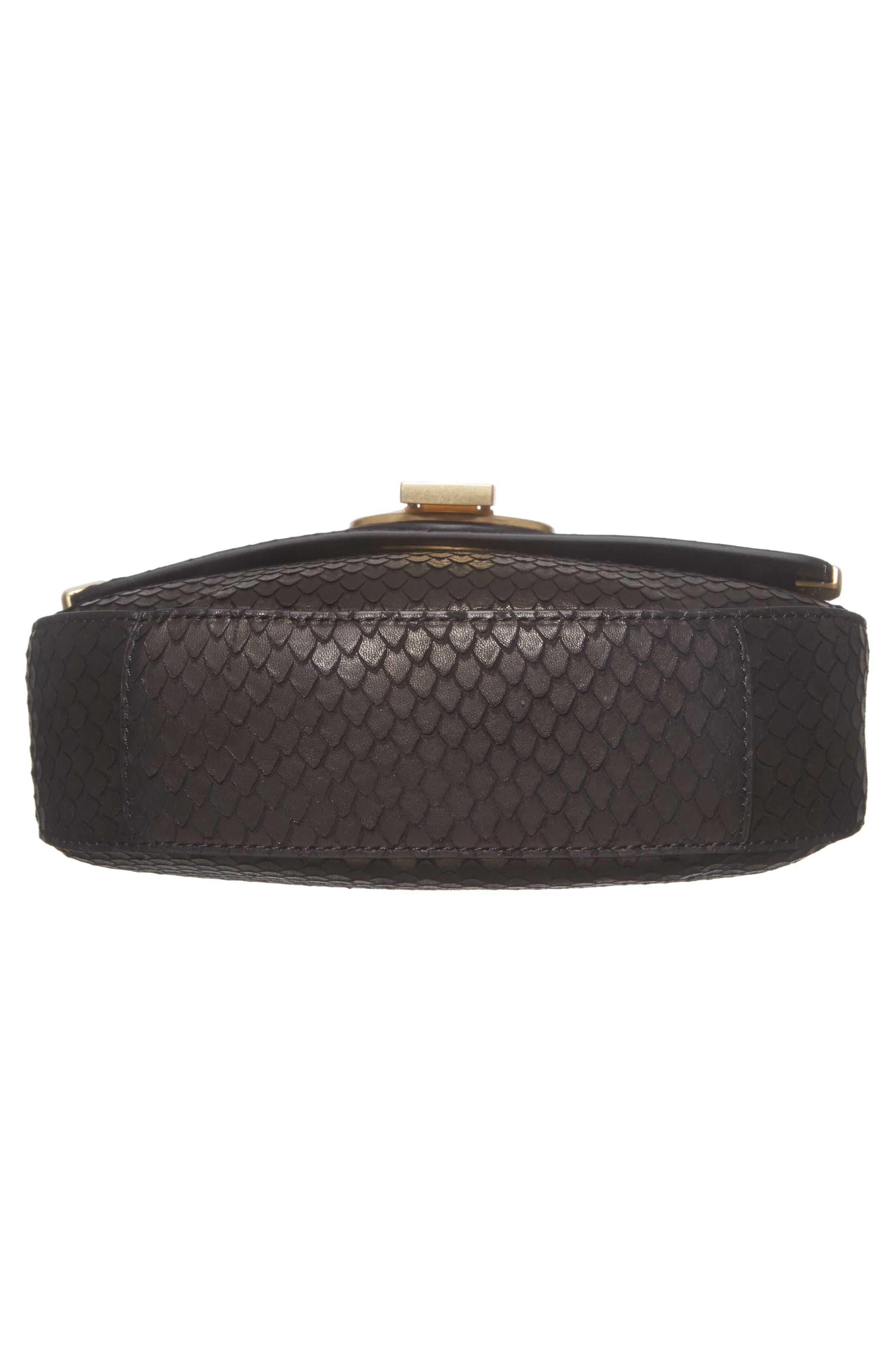 Céline Dion Octave Leather Crossbody Bag,                             Alternate thumbnail 6, color,                             Black Snake
