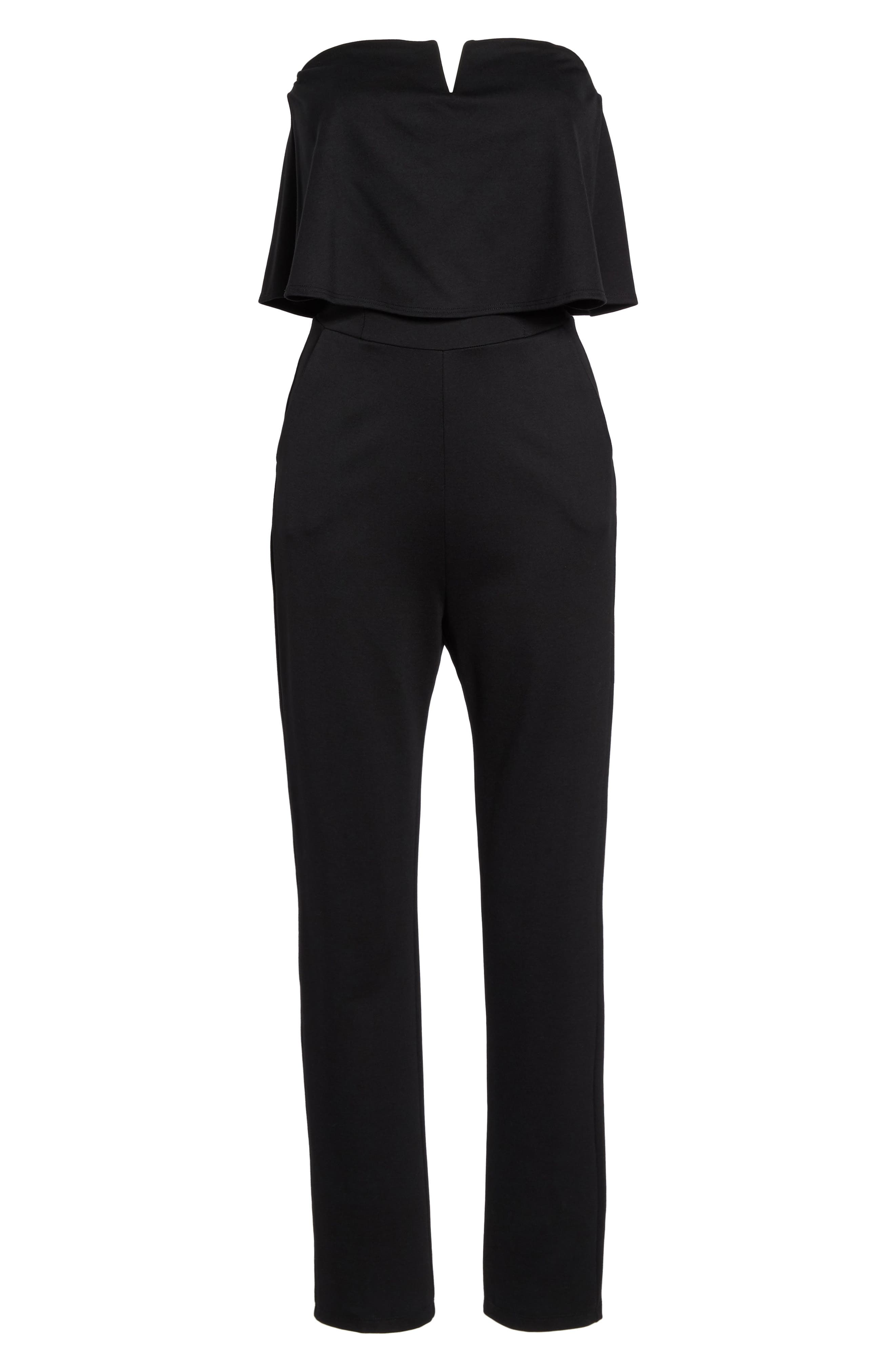 Strapless Ruffle Jumpsuit,                             Alternate thumbnail 6, color,                             Black