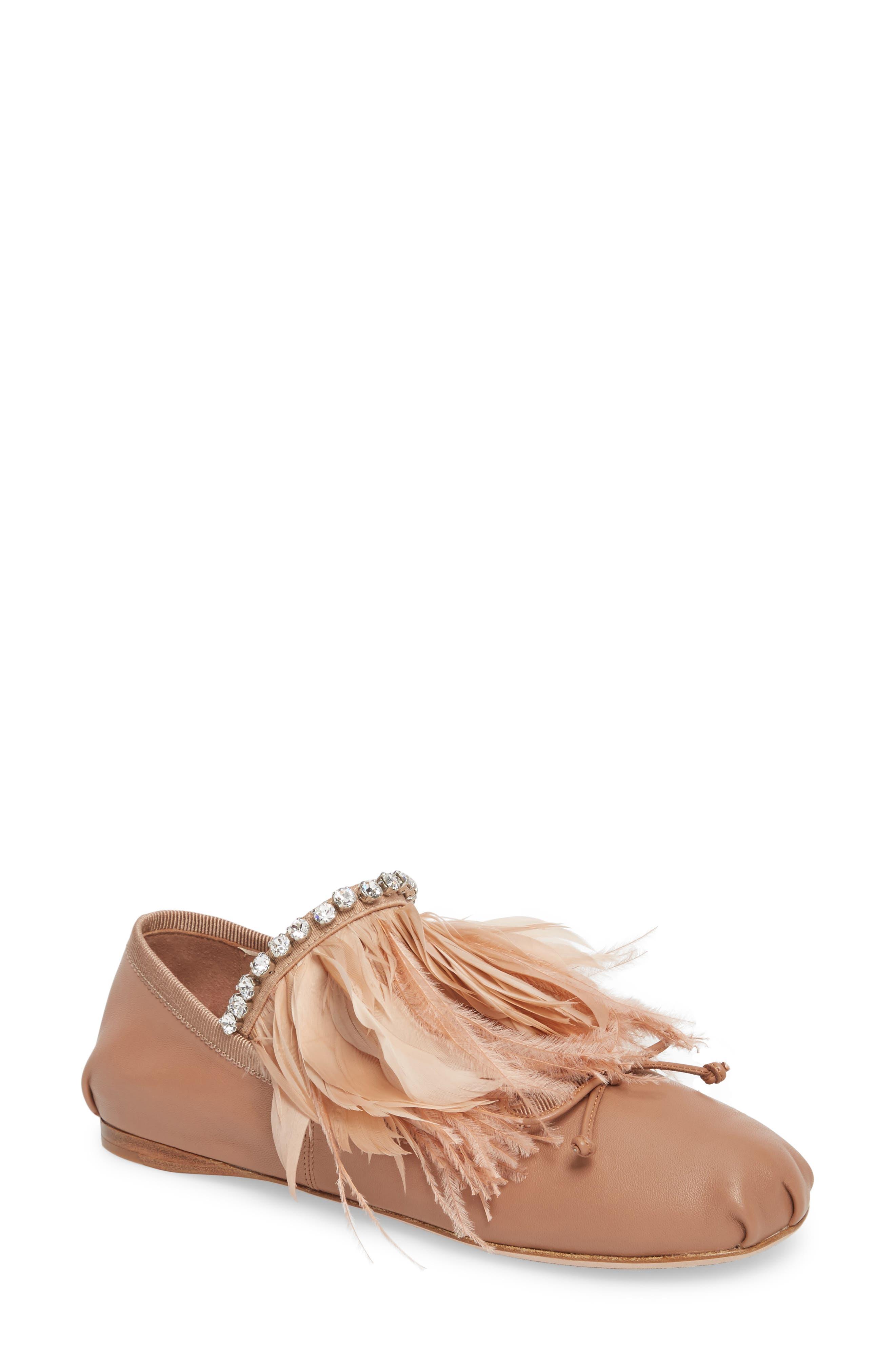 Feather Embellished Ballet Flat,                         Main,                         color, Pink