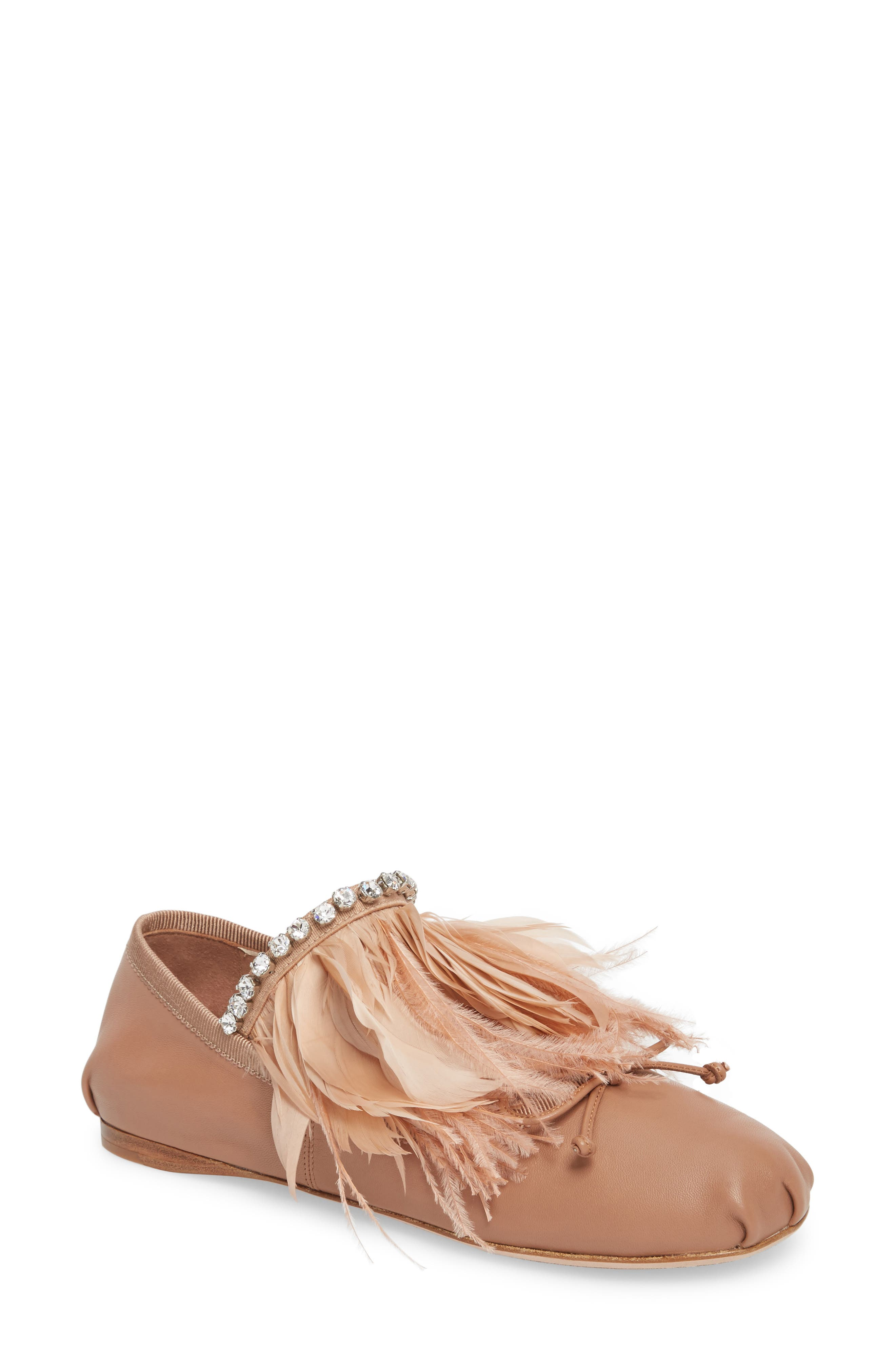 Miu Miu Feather Embellished Ballet Flat (Women)