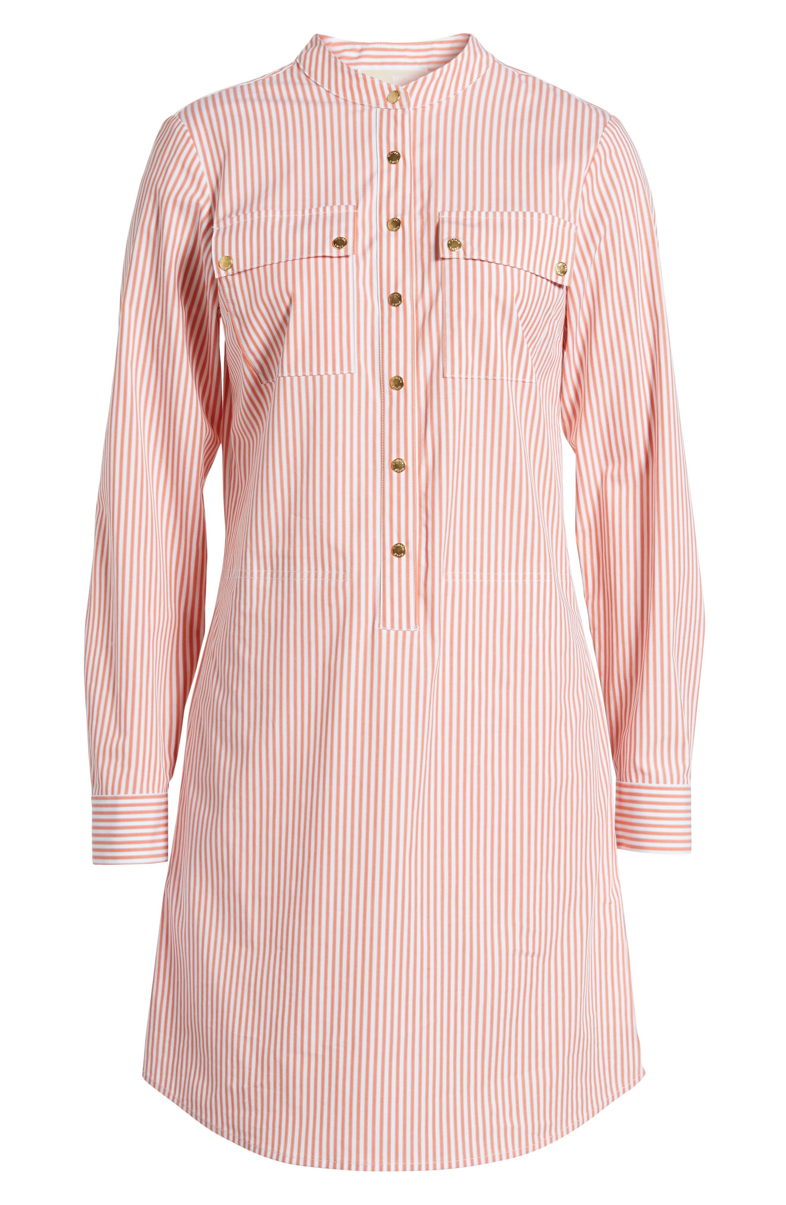 Stripe Button Down Shirtdress,                             Alternate thumbnail 6, color,                             Poppy