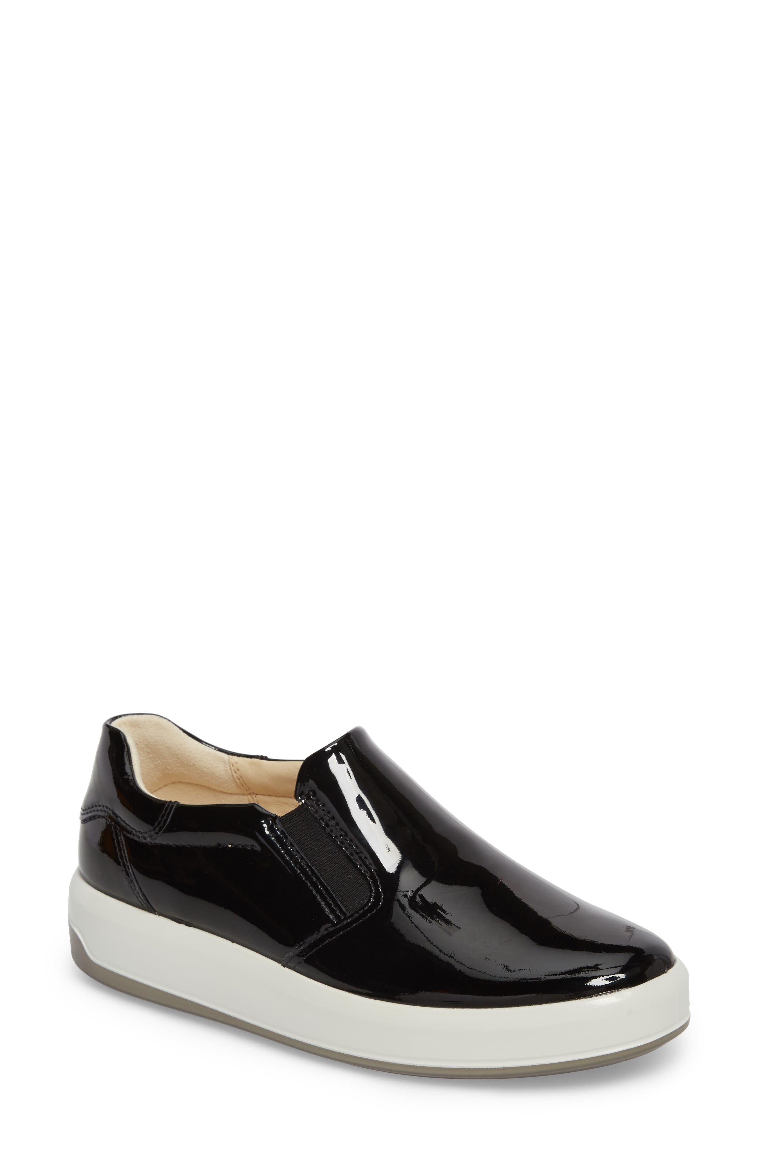 Soft 9 Slip-On Sneaker,                             Main thumbnail 1, color,                             Black Patent Leather