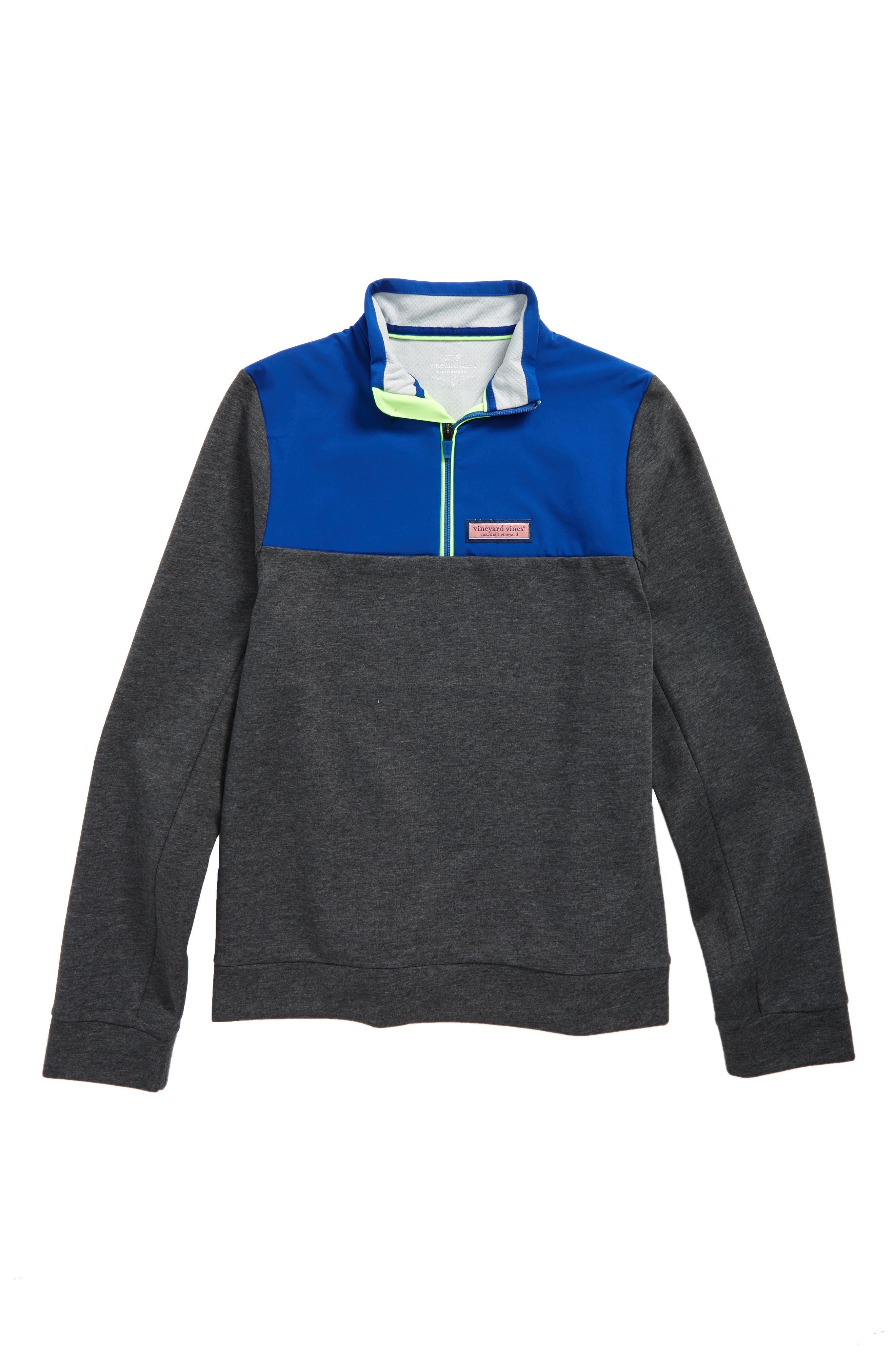 Shep Colorblock Quarter Zip Pullover,                         Main,                         color, Charcoal