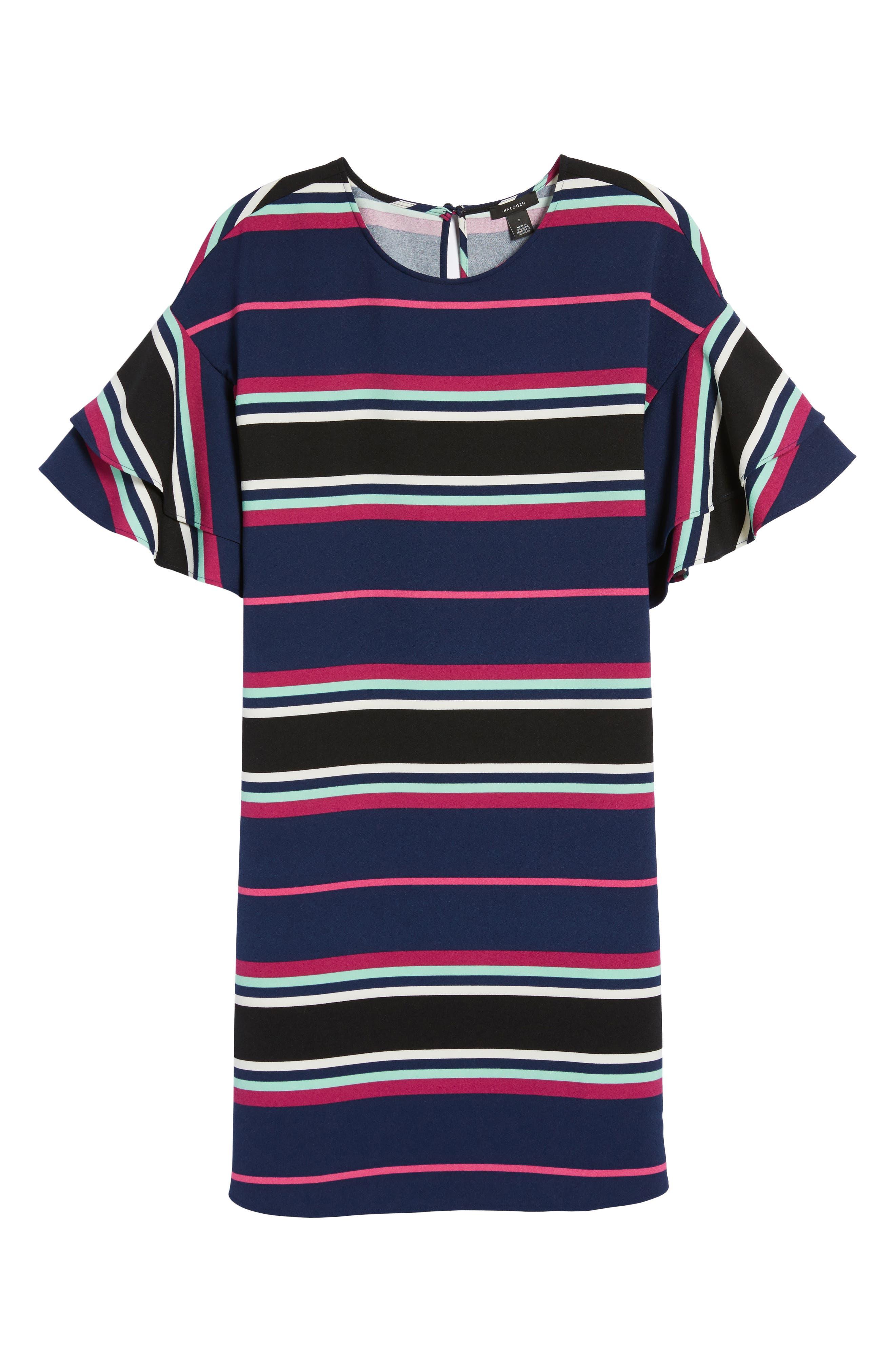 Ruffle Sleeve Shift Dress,                             Alternate thumbnail 6, color,                             Navy- Pink Multi Stripe