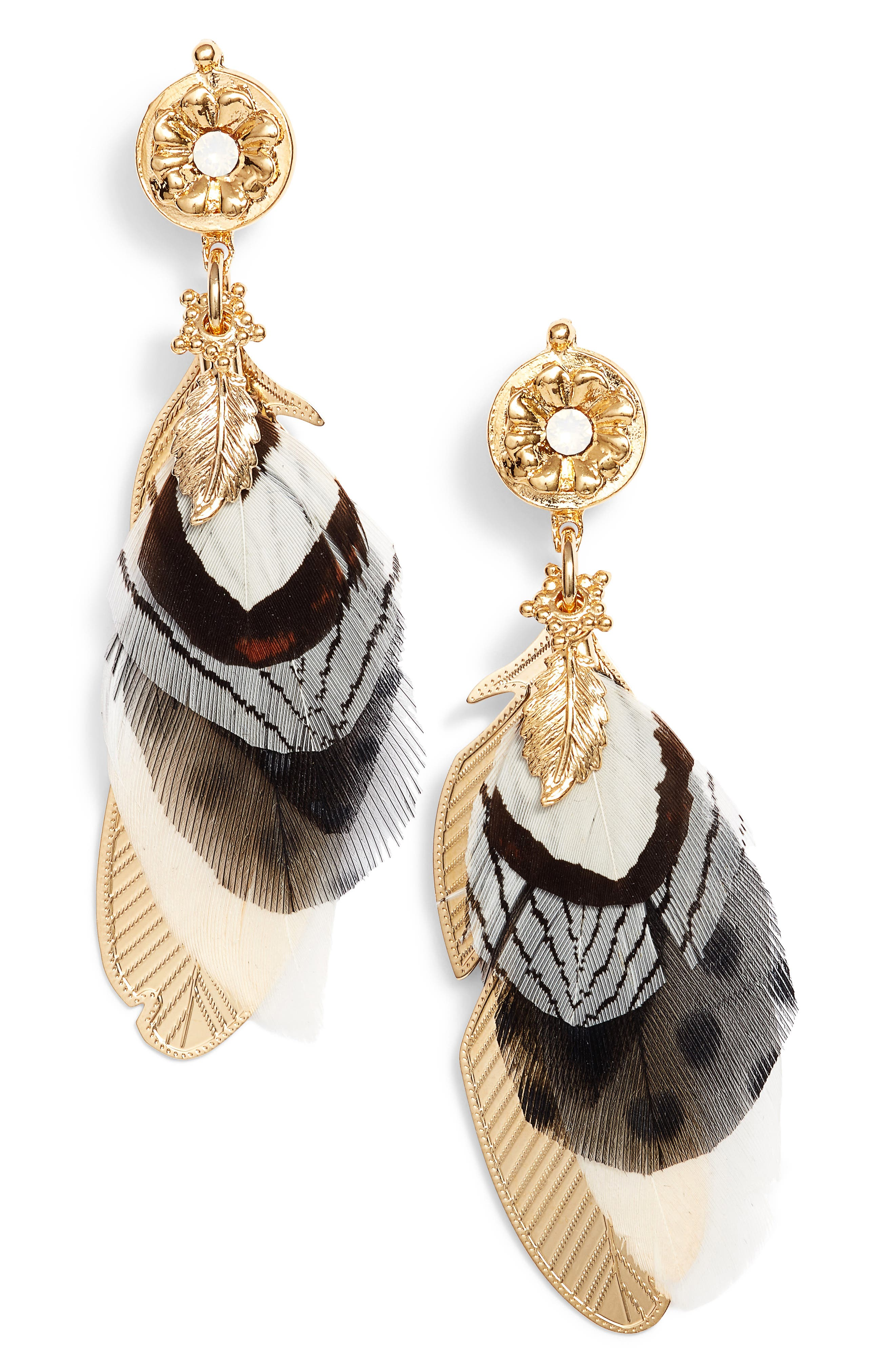 Small Sao Feather Earrings,                             Main thumbnail 1, color,                             Black/ Gold