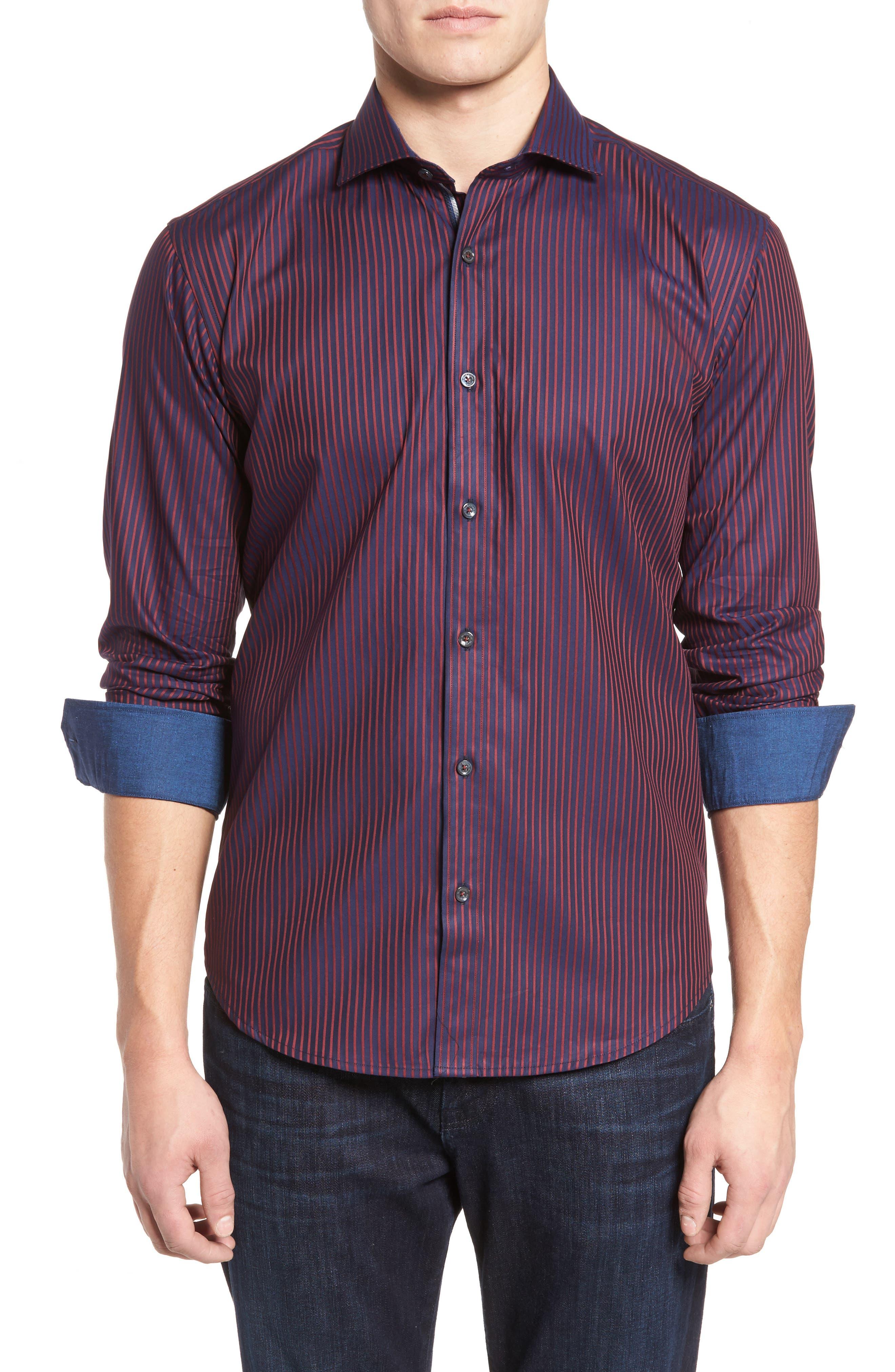 Shaped Fit Stripe Sport Shirt,                             Main thumbnail 1, color,                             Wine