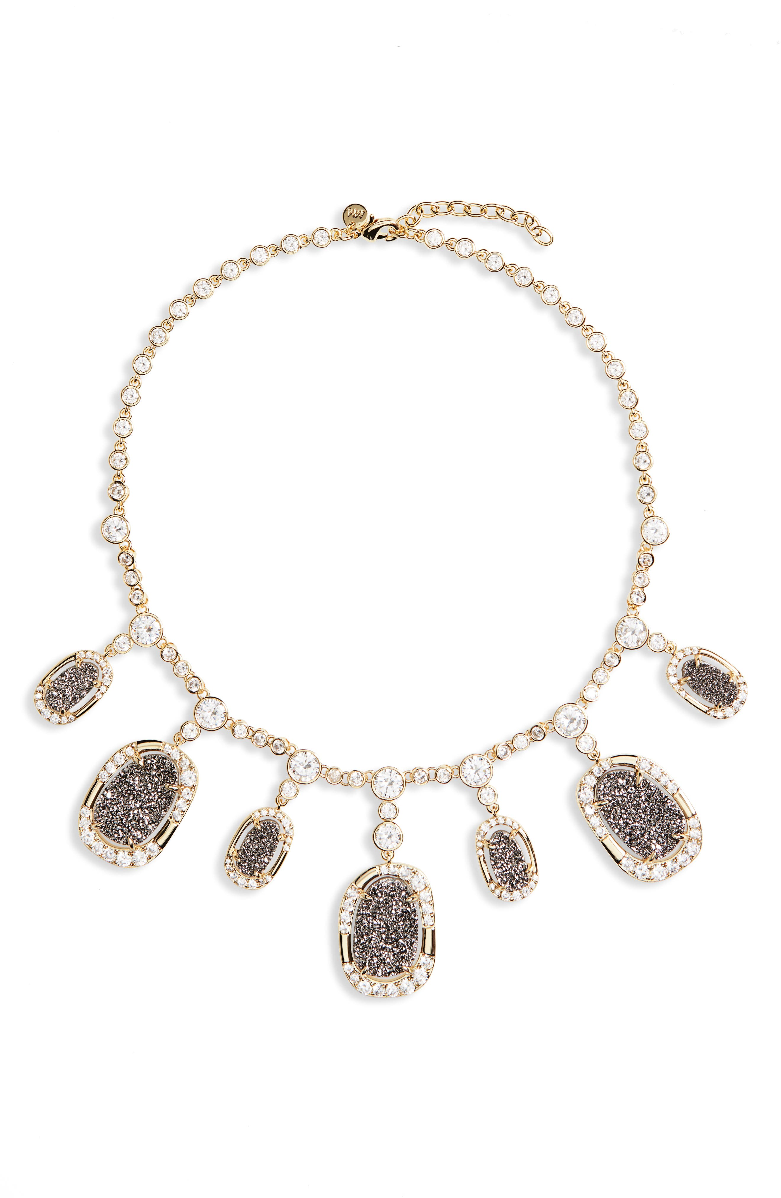 Woodward Statement Necklace,                             Main thumbnail 1, color,                             Grey Druzy/ Gold