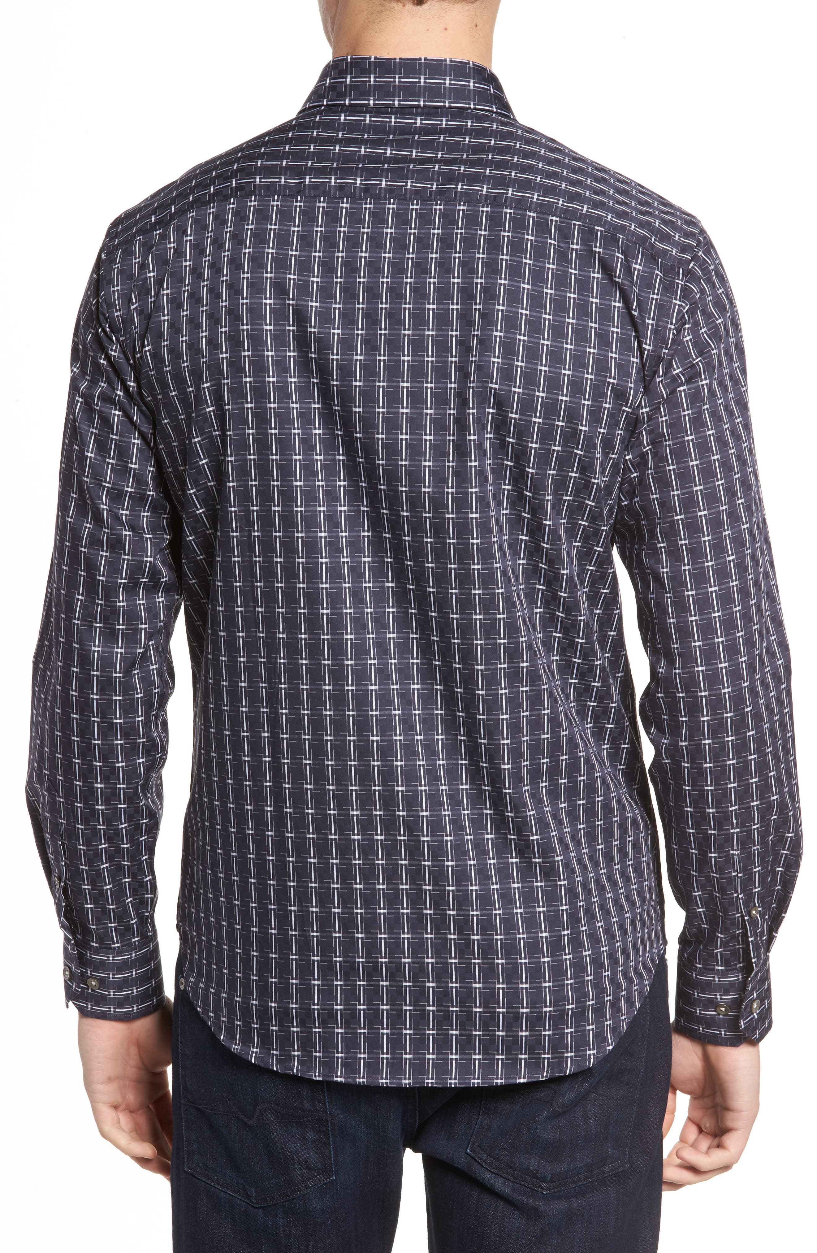 Shaped Fit Plaid Sport Shirt,                             Alternate thumbnail 2, color,                             Black
