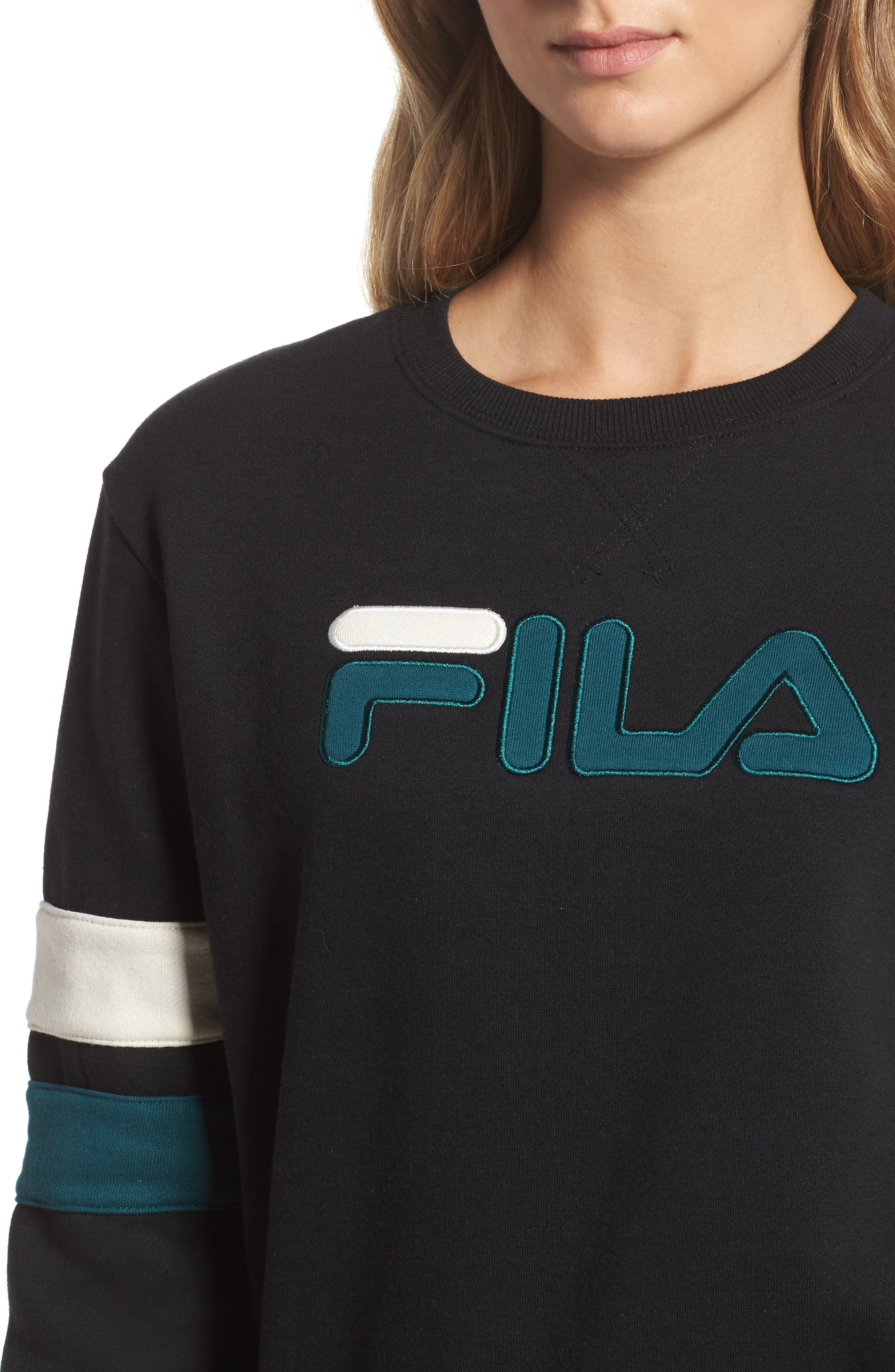 Newton Sweatshirt,                             Alternate thumbnail 4, color,                             Black/ Deep Teal/ Gardenia