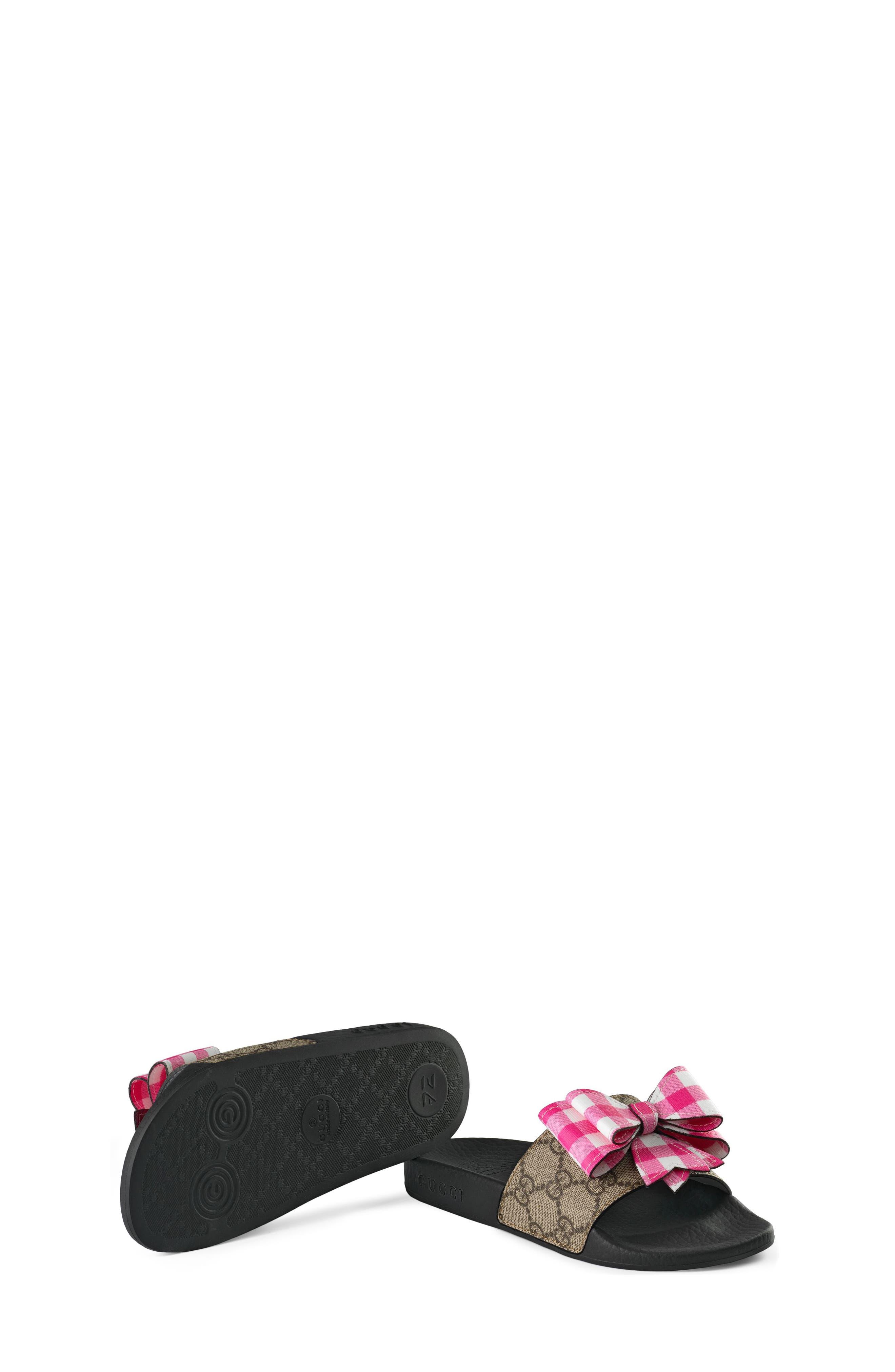 Pursuit Bow Slide,                             Alternate thumbnail 5, color,                             Beige/ Pink