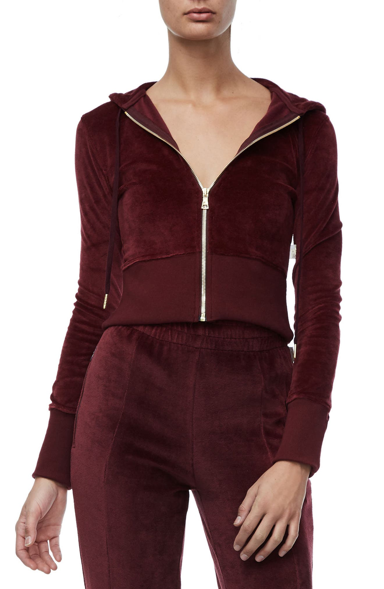 Alternate Image 1 Selected - Good American Crop Velour Hoodie (Regular & Plus Size)
