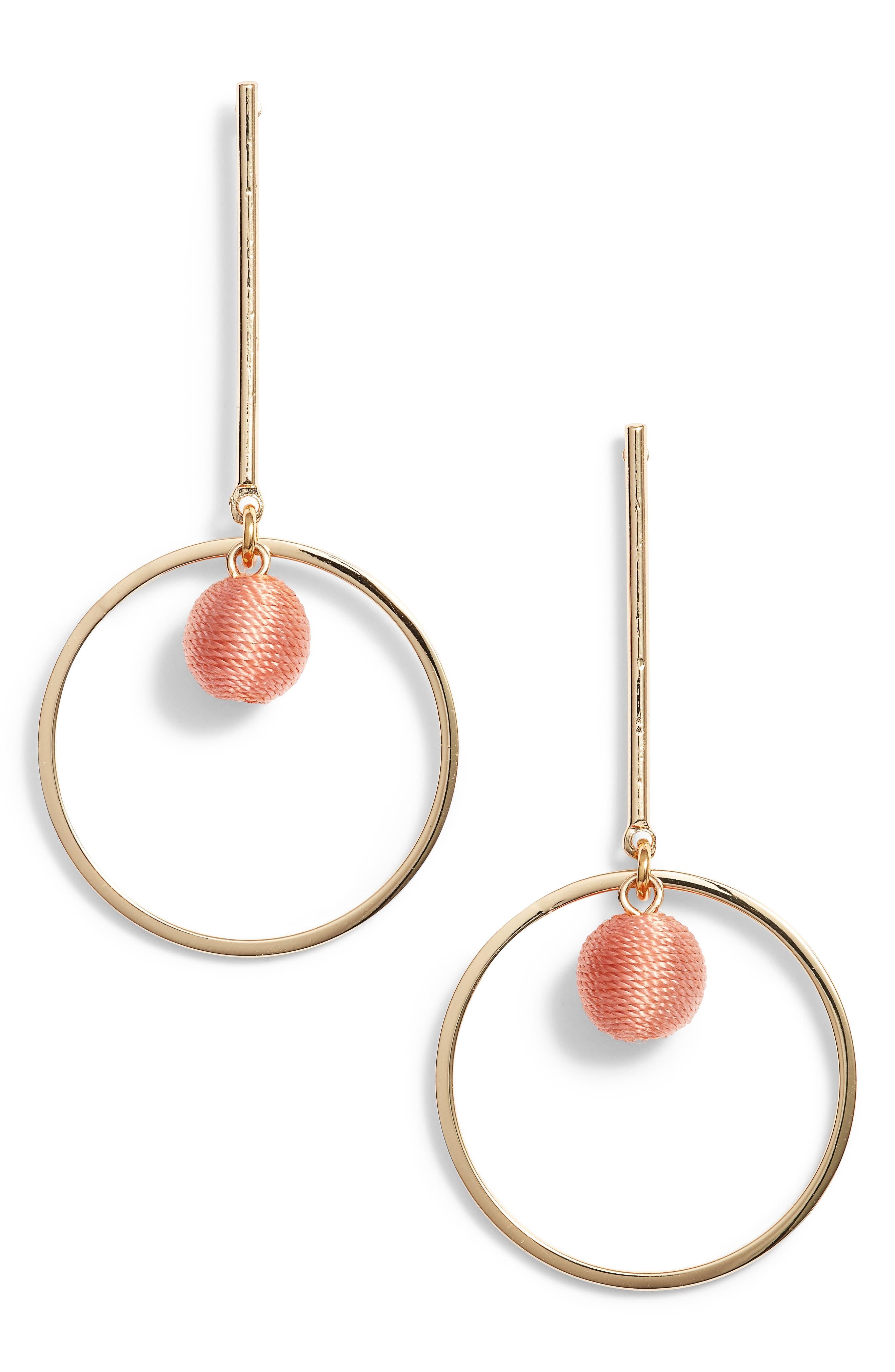 Bar & Hoop Earrings,                         Main,                         color, Pink/ Gold