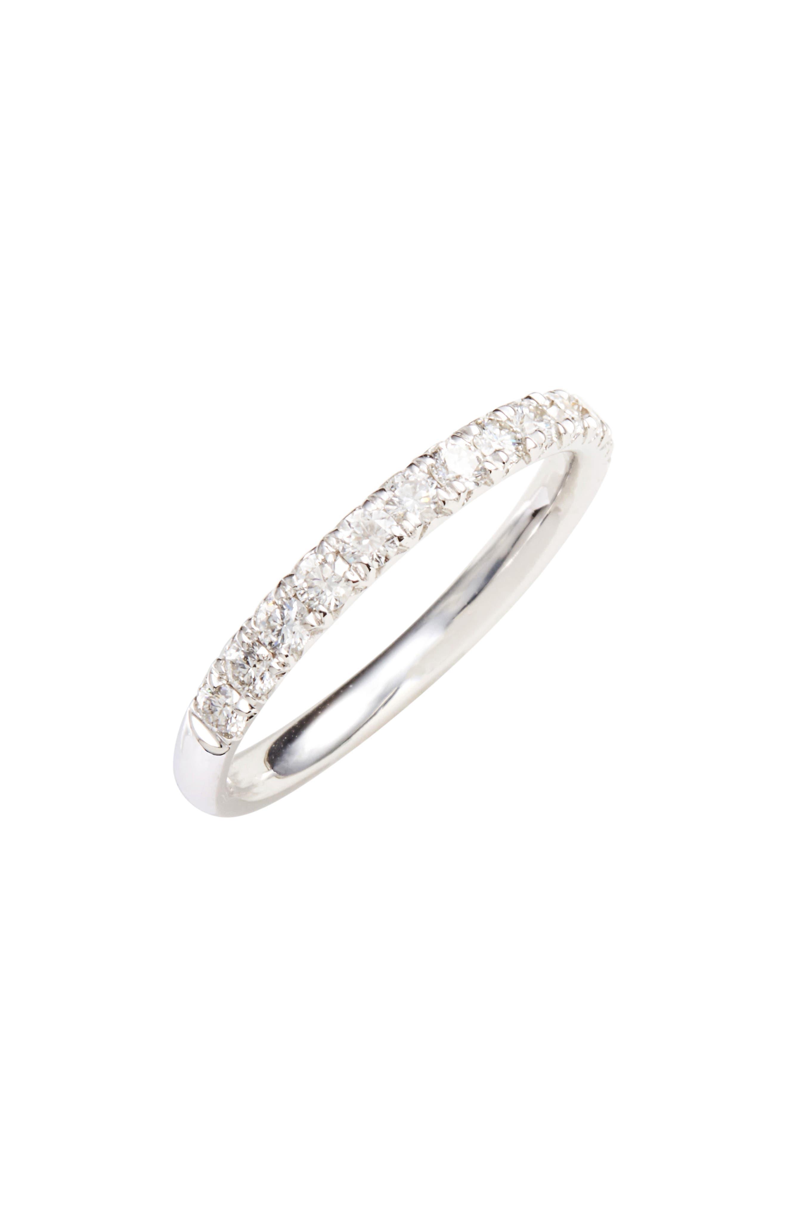Kiera French Cut Diamond Band,                             Main thumbnail 1, color,                             White Gold