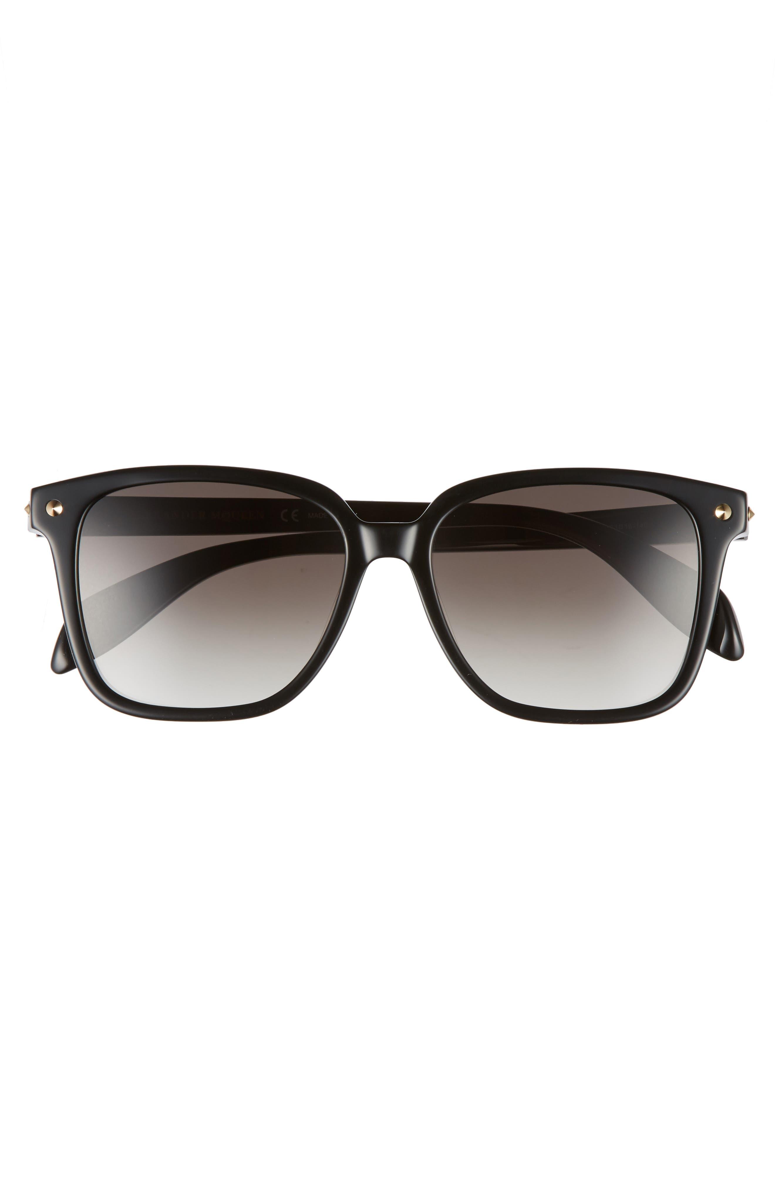 53mm Square Sunglasses,                             Alternate thumbnail 3, color,                             Black