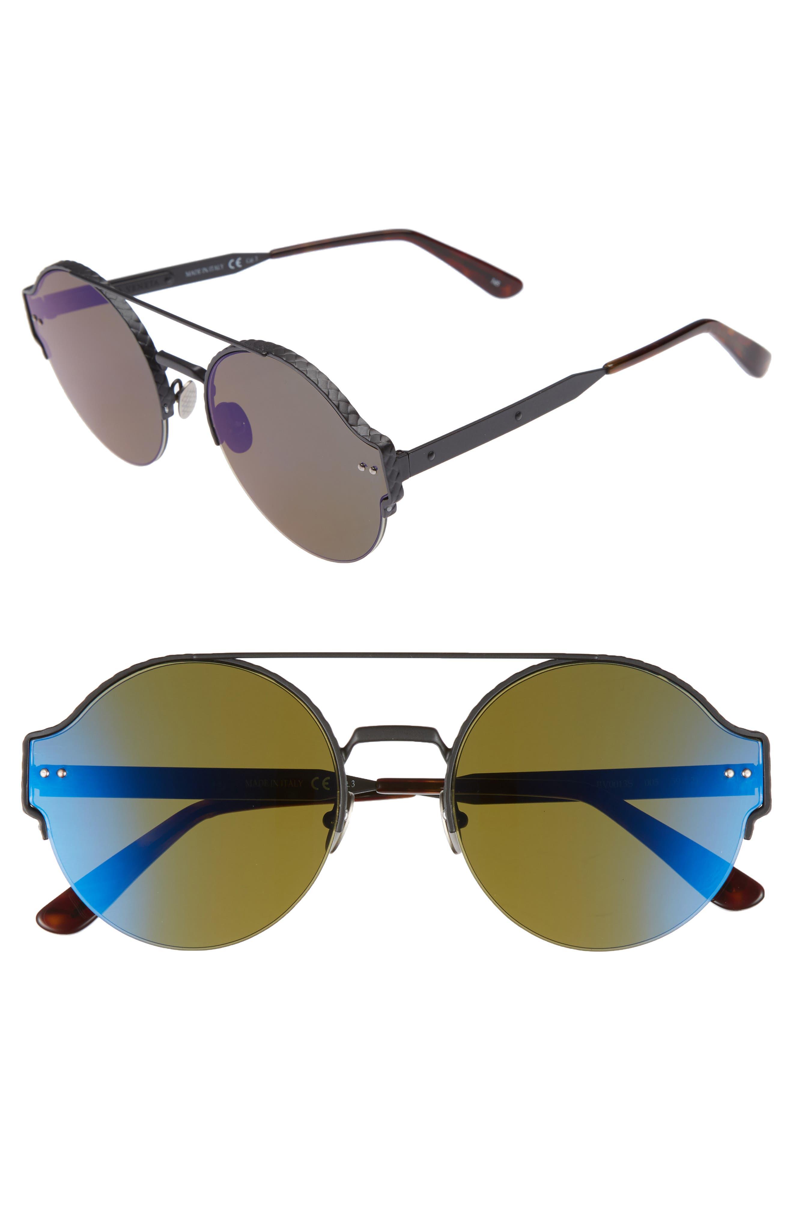 Bottega Veneta 54mm Round Semi-Rimless Sunglasses