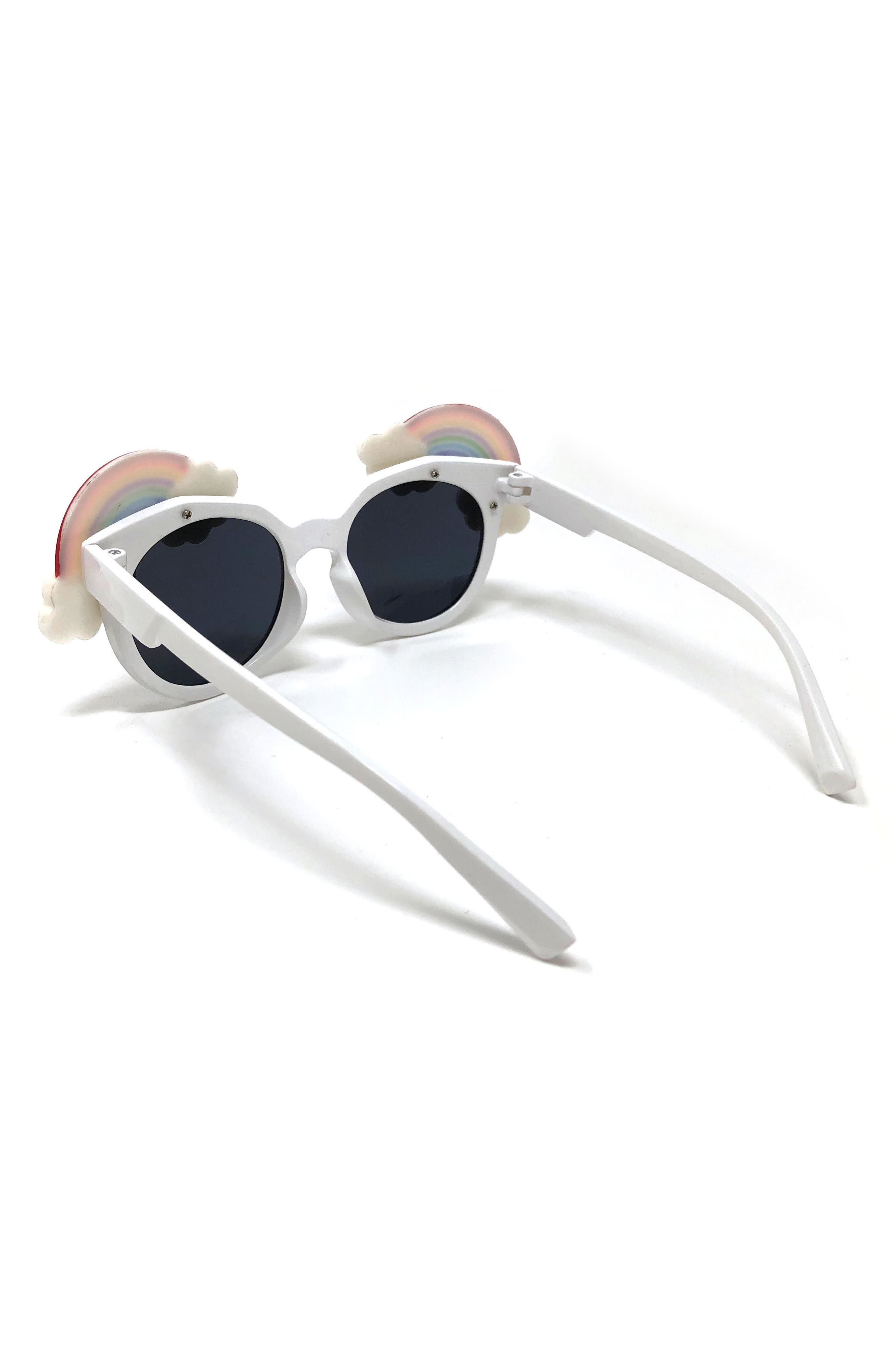 Small Round Rainbow Sunglasses,                             Alternate thumbnail 2, color,                             White/Rainbow