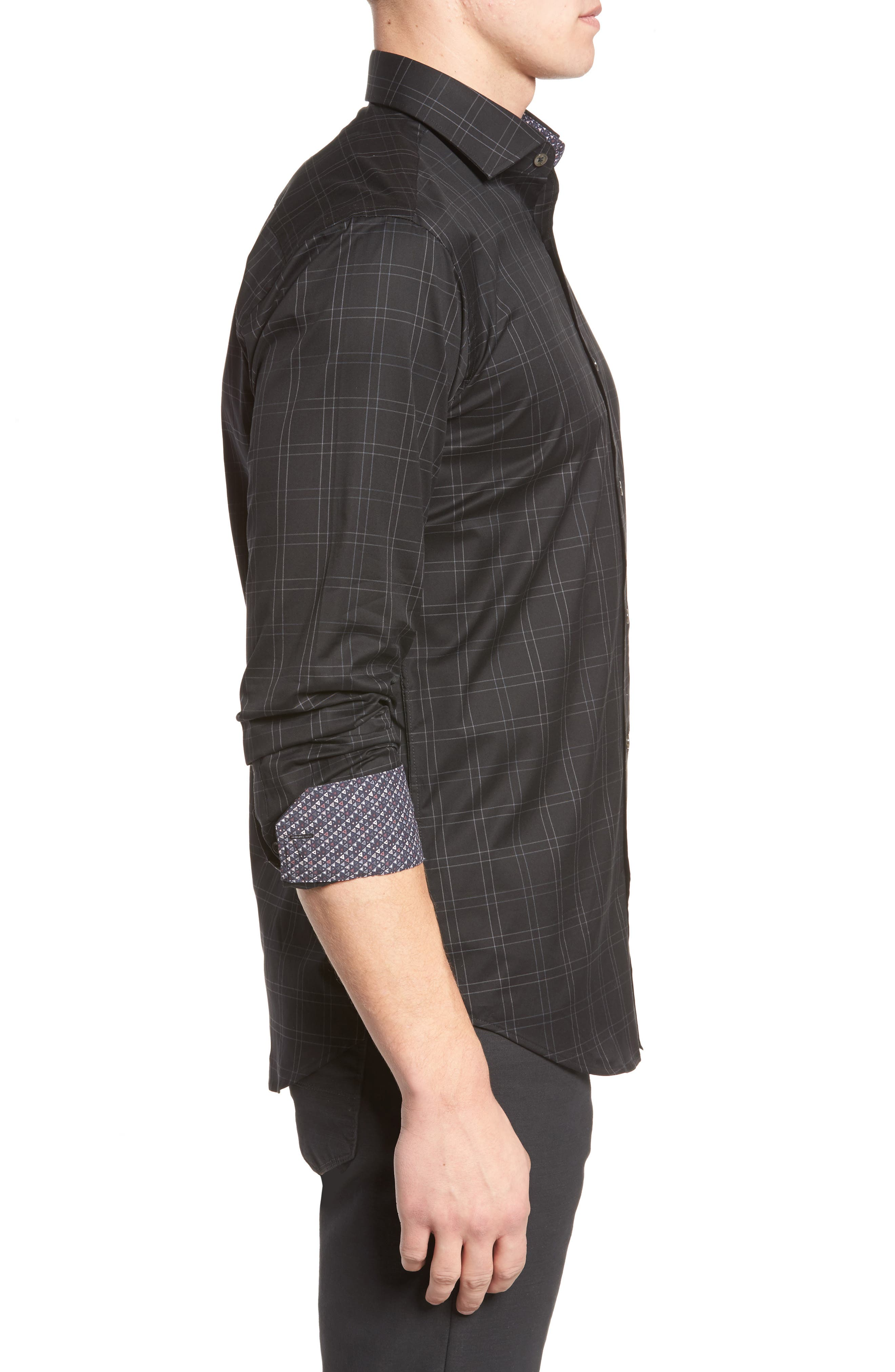 Shaped Fit Plaid Sport Shirt,                             Alternate thumbnail 3, color,                             Black