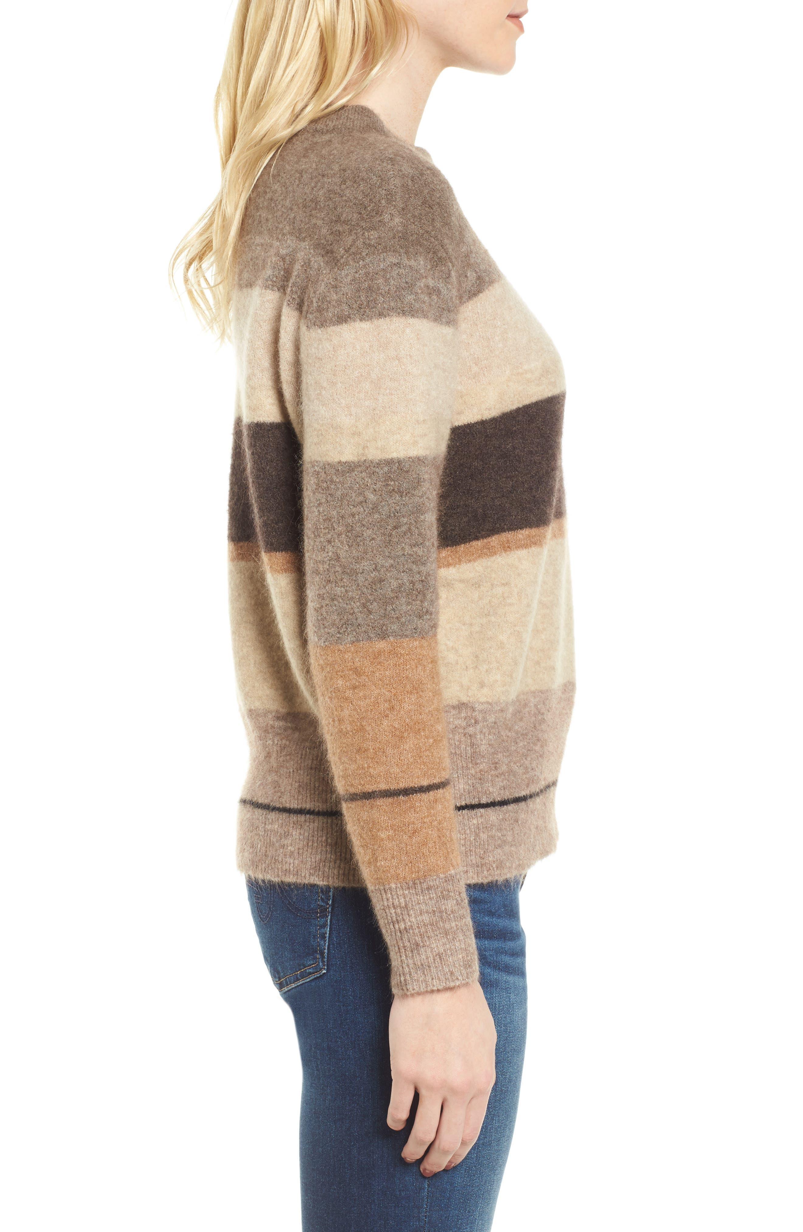 Stripe Sweater,                             Alternate thumbnail 3, color,                             Brown Multi Stripe