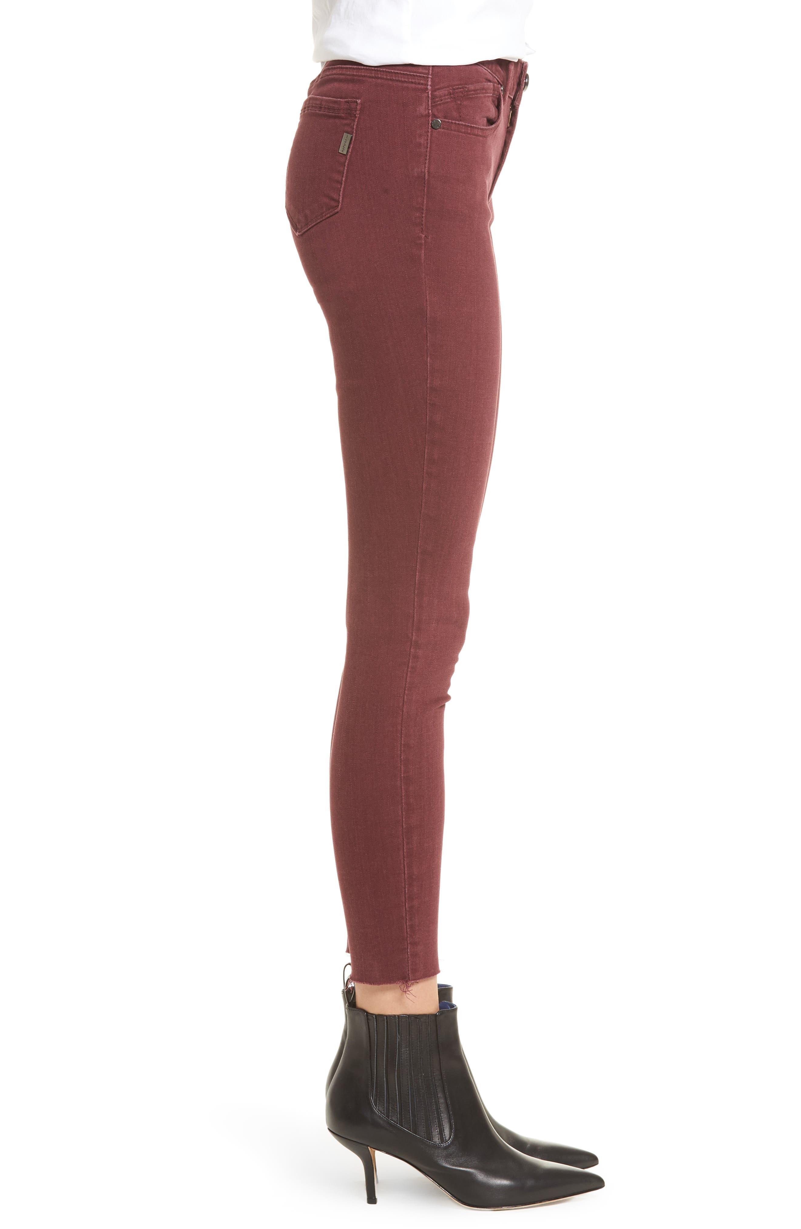 Raw Hem Skinny Jeans,                             Alternate thumbnail 3, color,                             Rumba Red