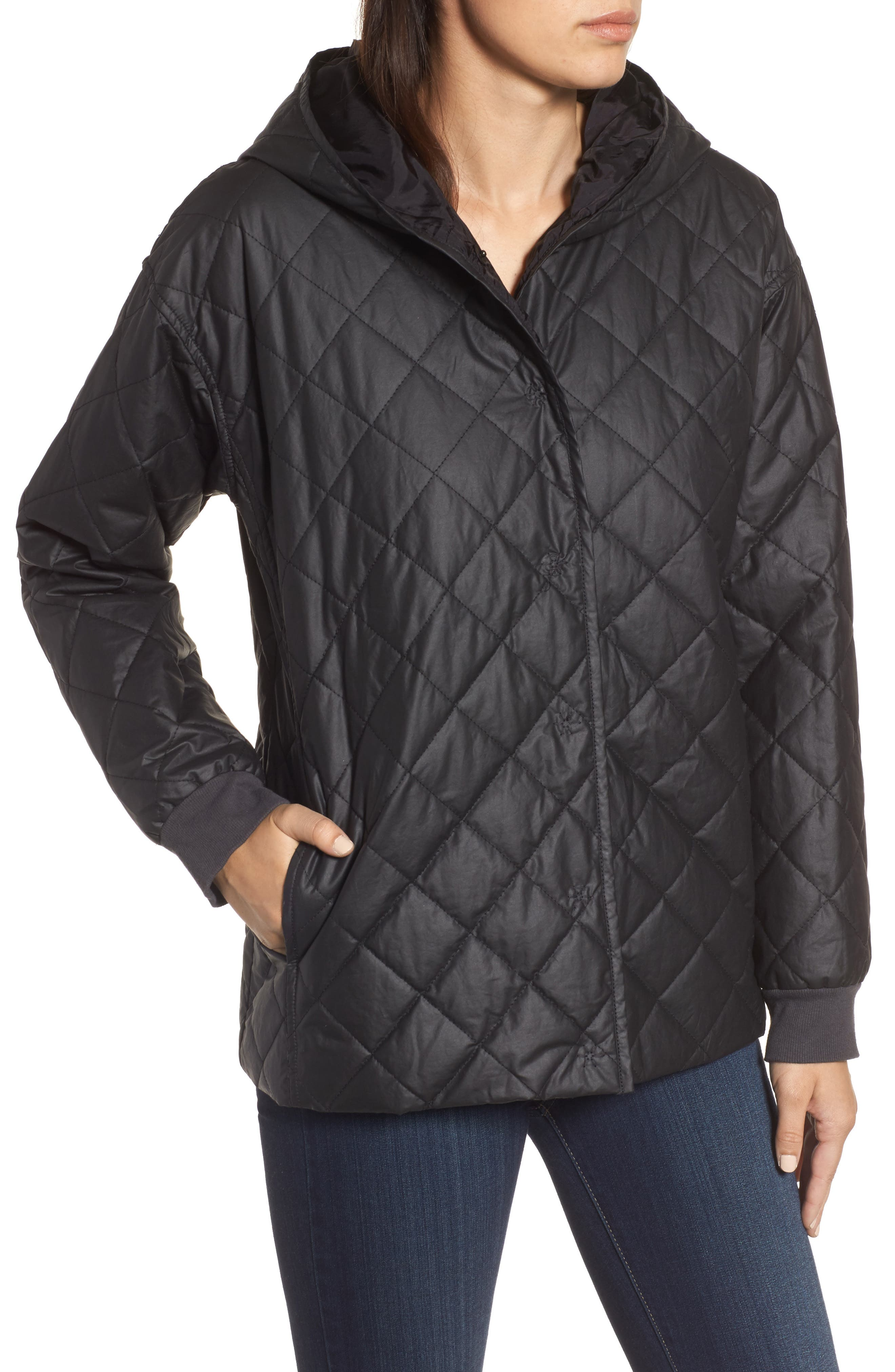 Quilted Hooded Jacket,                             Alternate thumbnail 4, color,                             Black