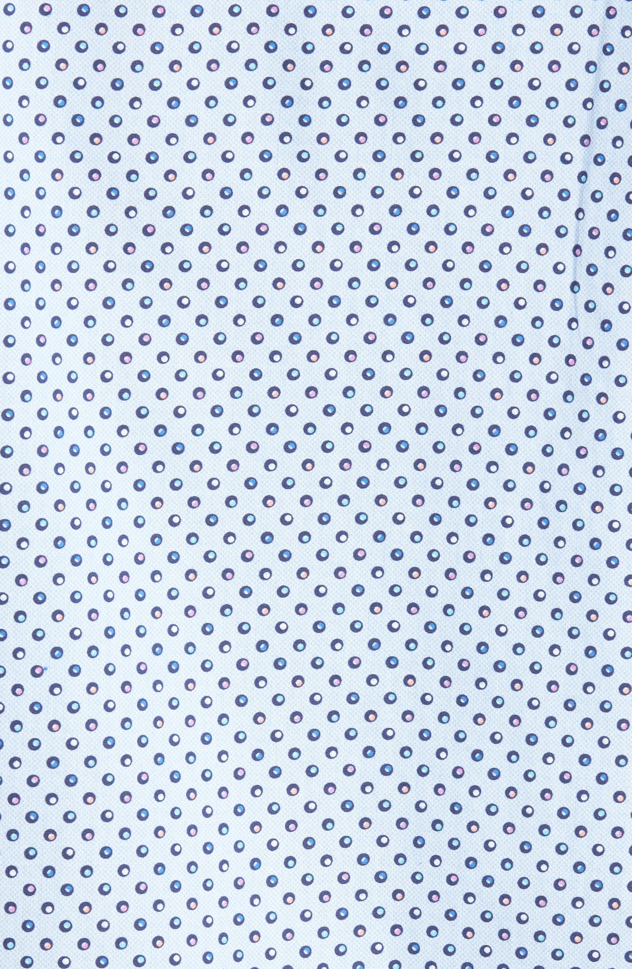 Trim Fit Circle Print Sport Shirt,                             Alternate thumbnail 5, color,                             Sky Blue