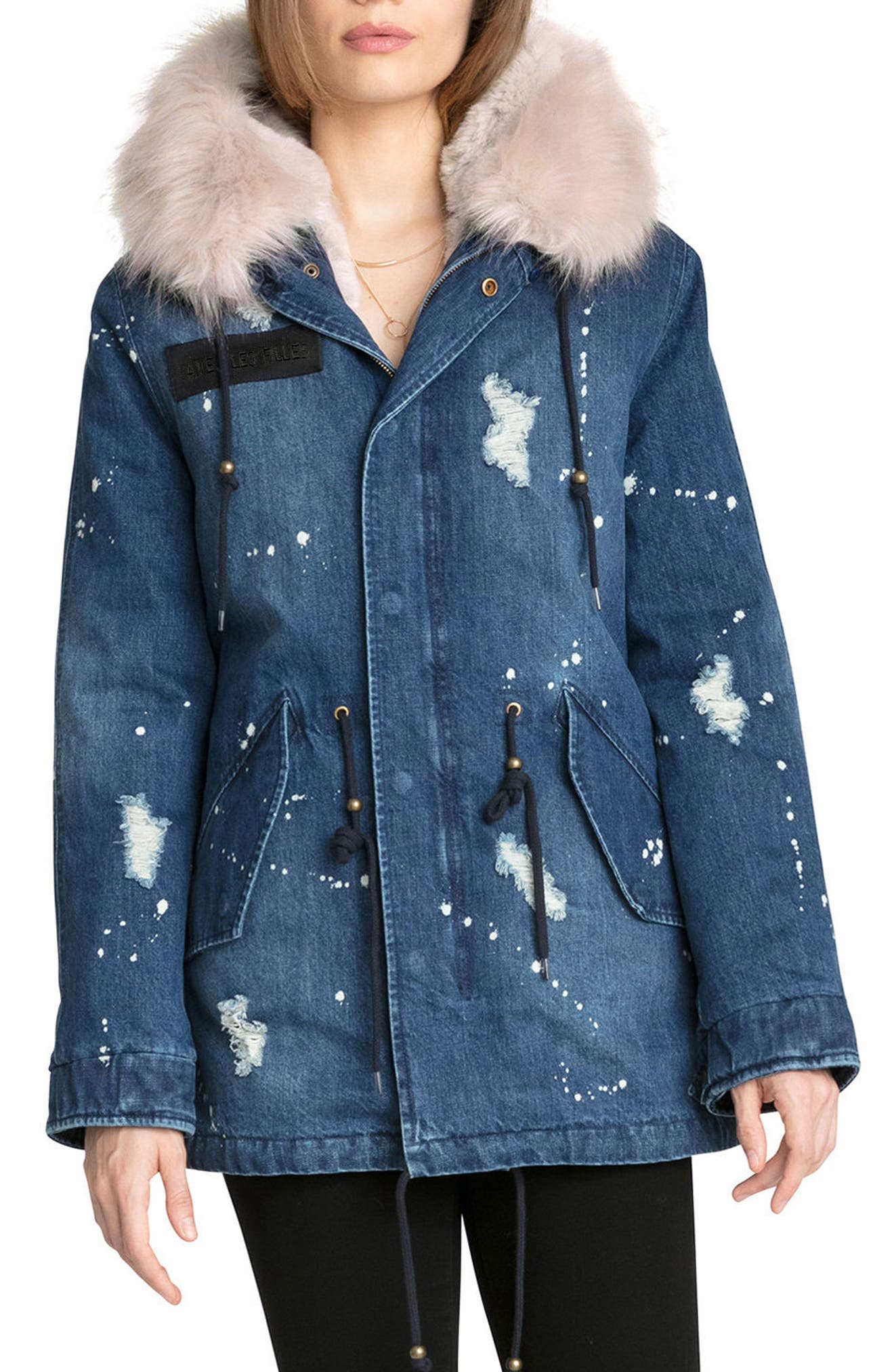 Main Image - Avec Les Filles 3-in-1 Distressed Denim Parka with Faux Shearling Trim