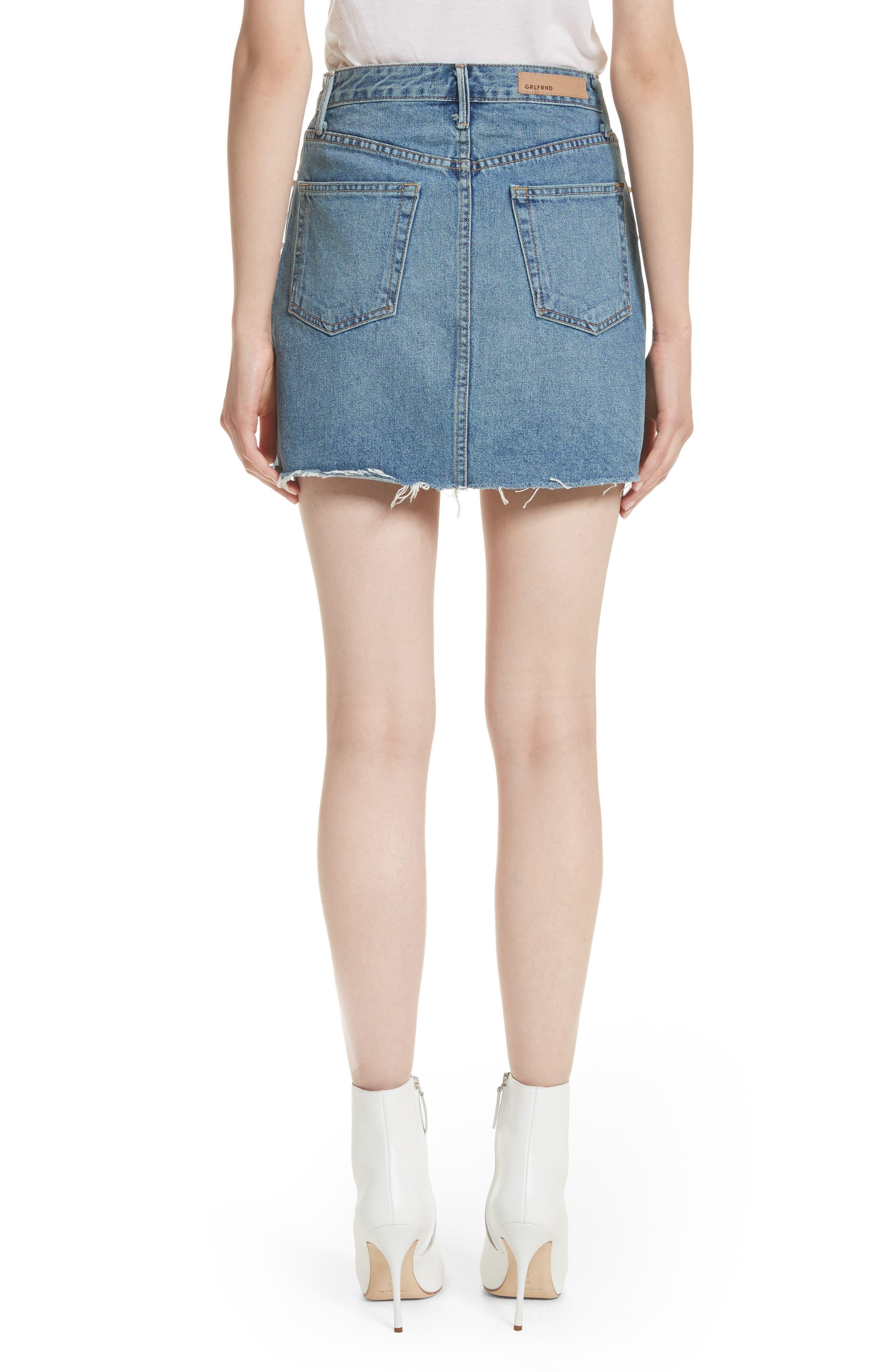 Milla Faux Pearl & Crystal Embellished A-Line Denim Skirt,                             Alternate thumbnail 2, color,                             Solstice