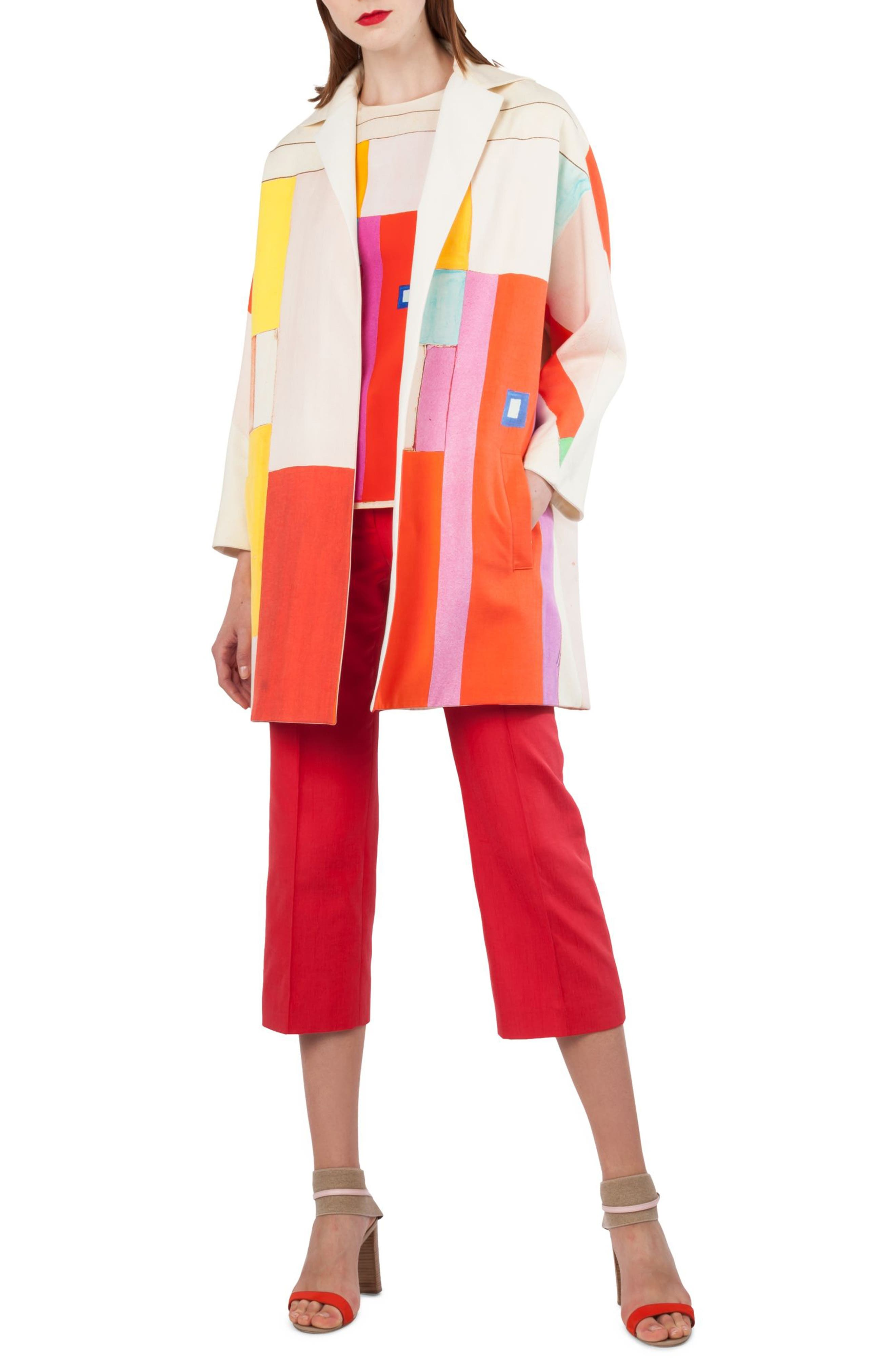 Mural Print Cotton & Silk Reversible Coat,                             Alternate thumbnail 6, color,                             Multicolor