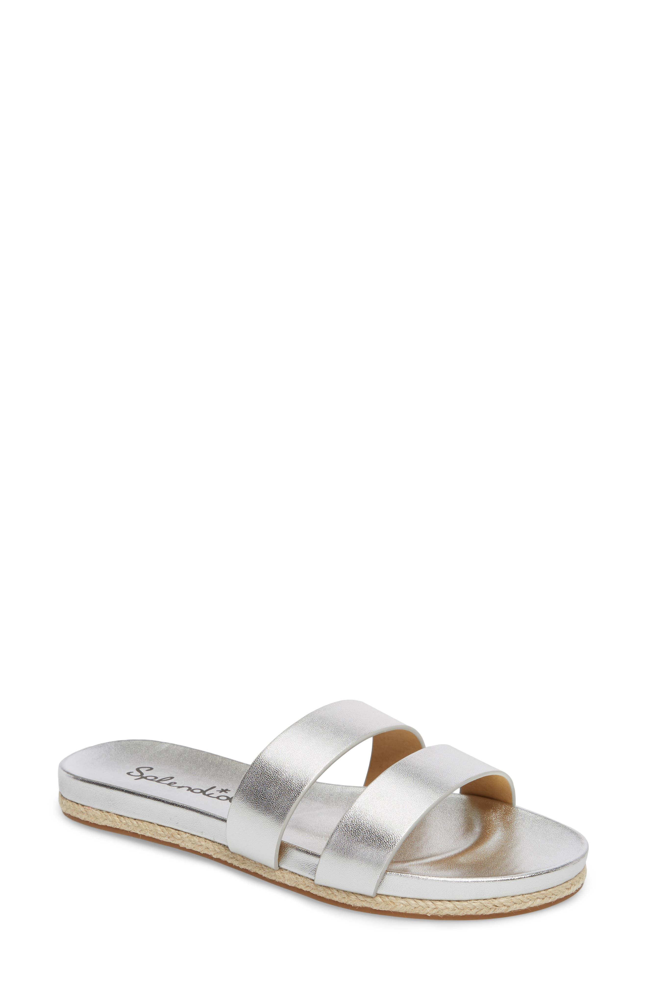 Brittani Slide Sandal,                             Main thumbnail 1, color,                             Silver Metallic Leather