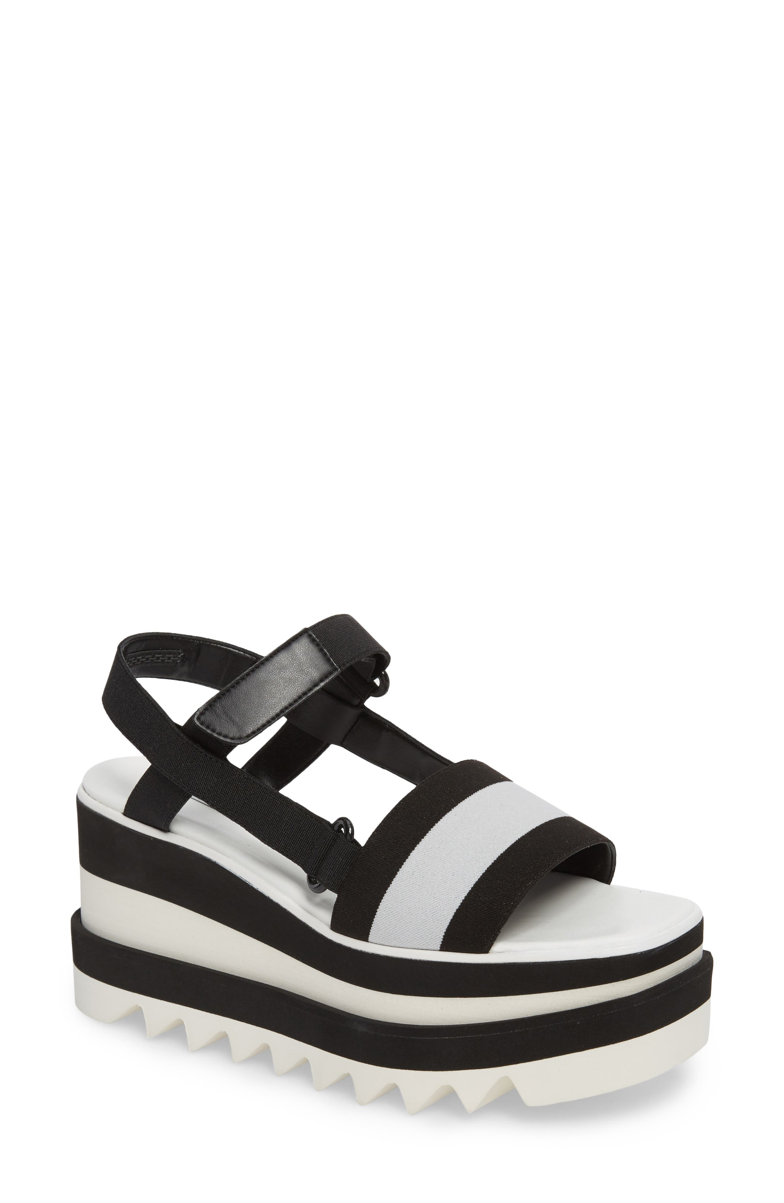 Stripe Platform Sandal,                             Main thumbnail 1, color,                             Black/ White