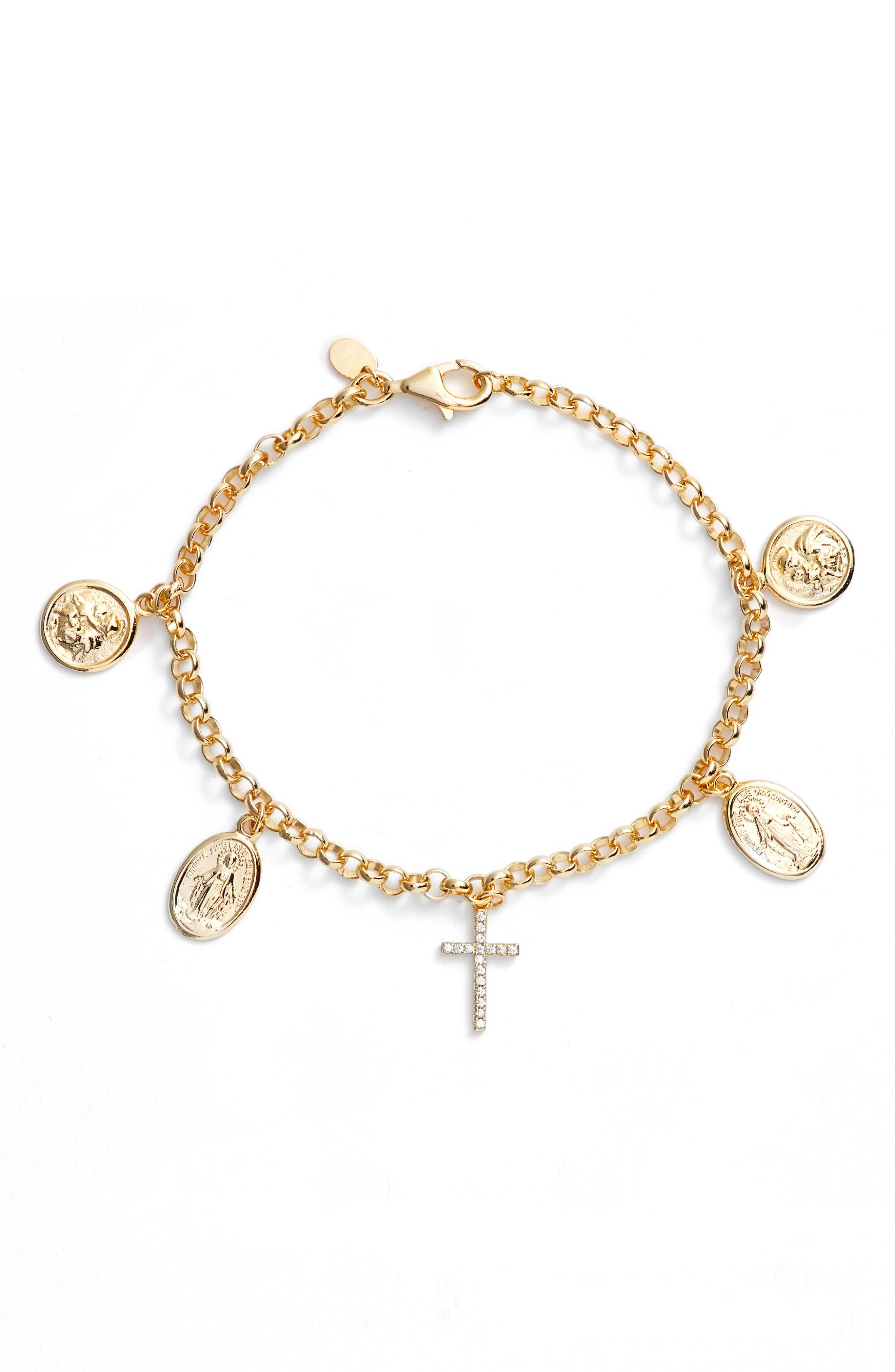 Guadalupe Charm Bracelet,                         Main,                         color, Gold