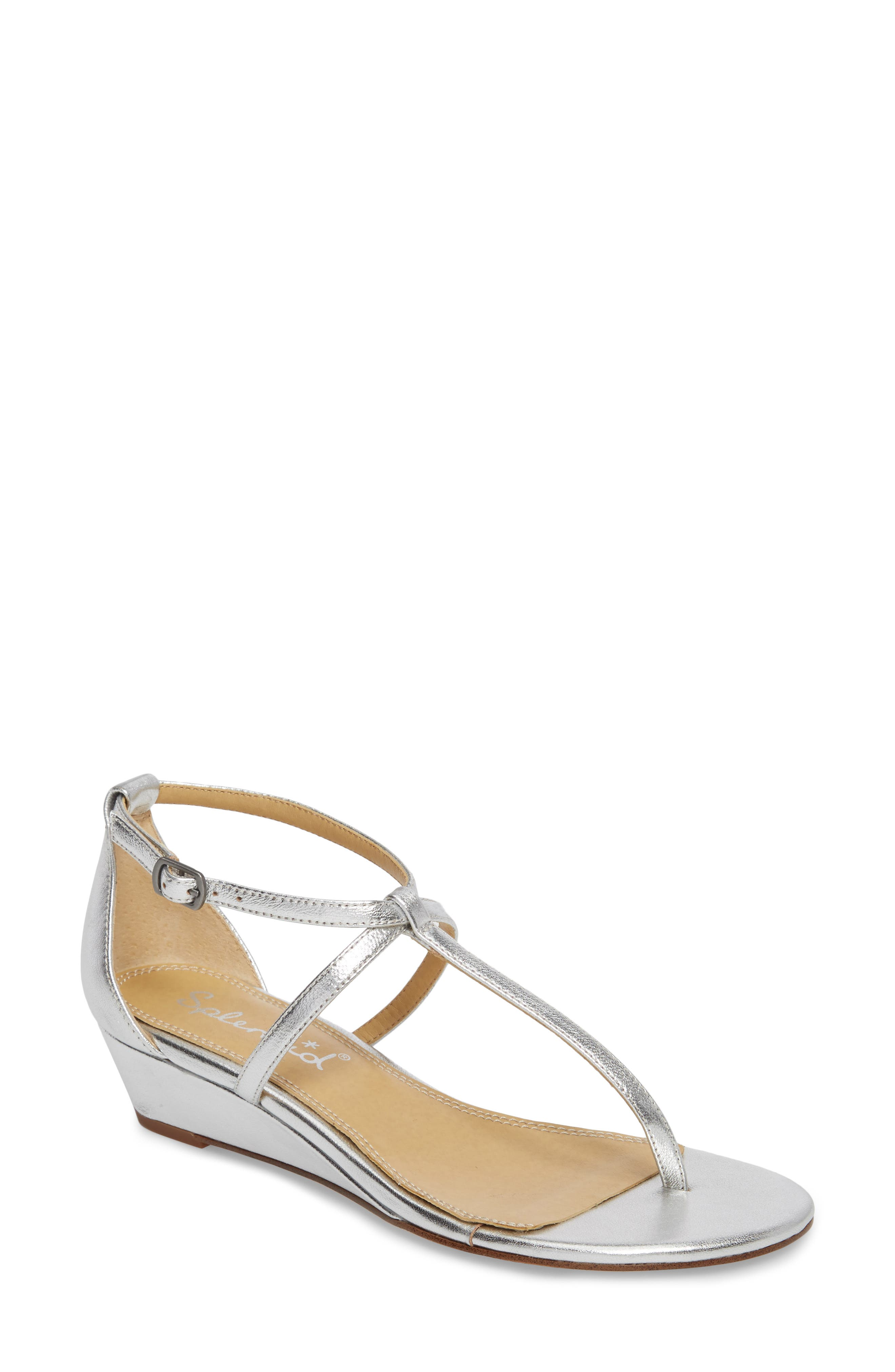 Bryce T-Strap Wedge Sandal,                             Main thumbnail 1, color,                             Silver Metallic Leather