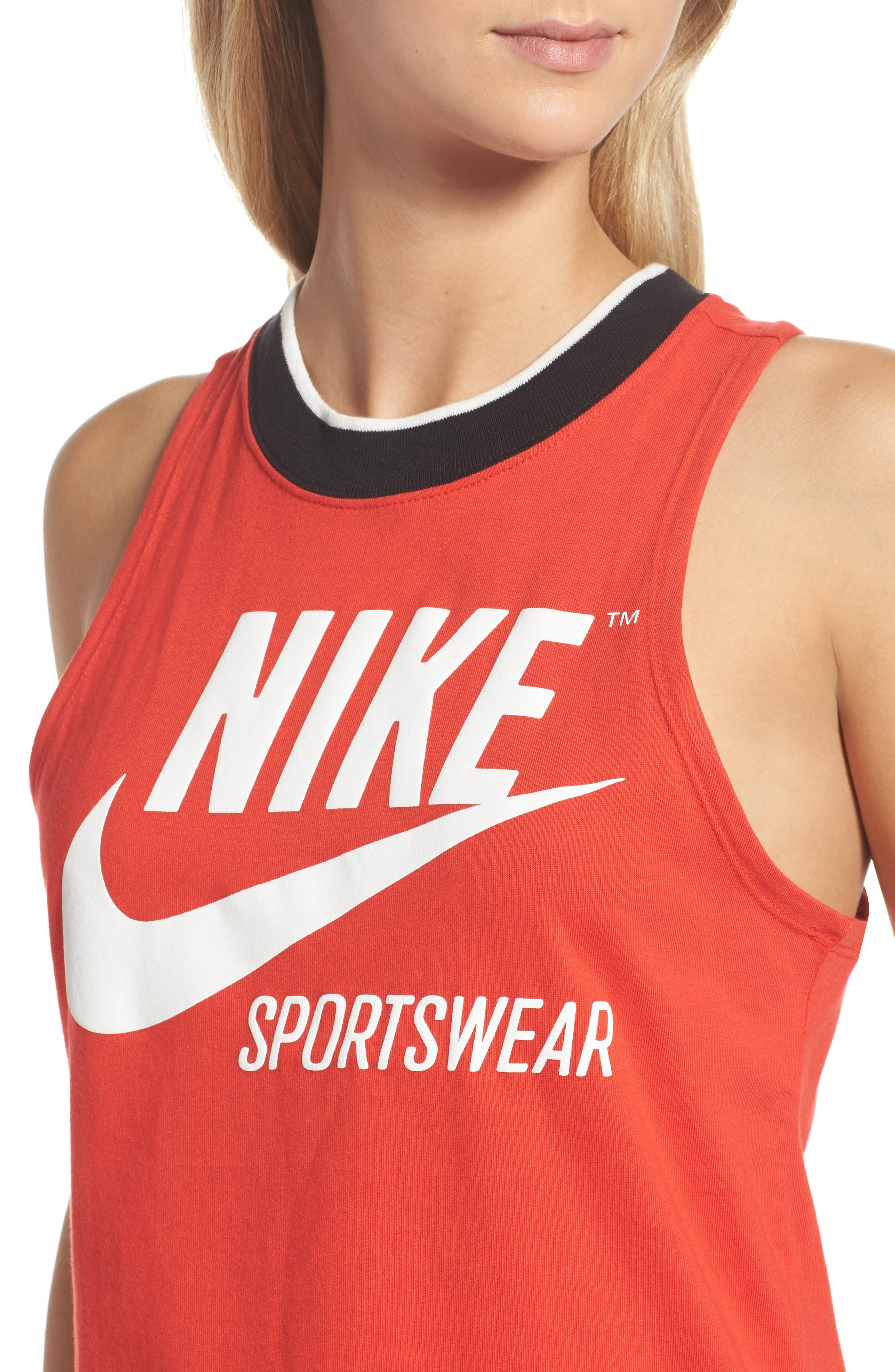 Sportswear Archive Crop Tank,                             Alternate thumbnail 4, color,                             Rush Red/ Sail