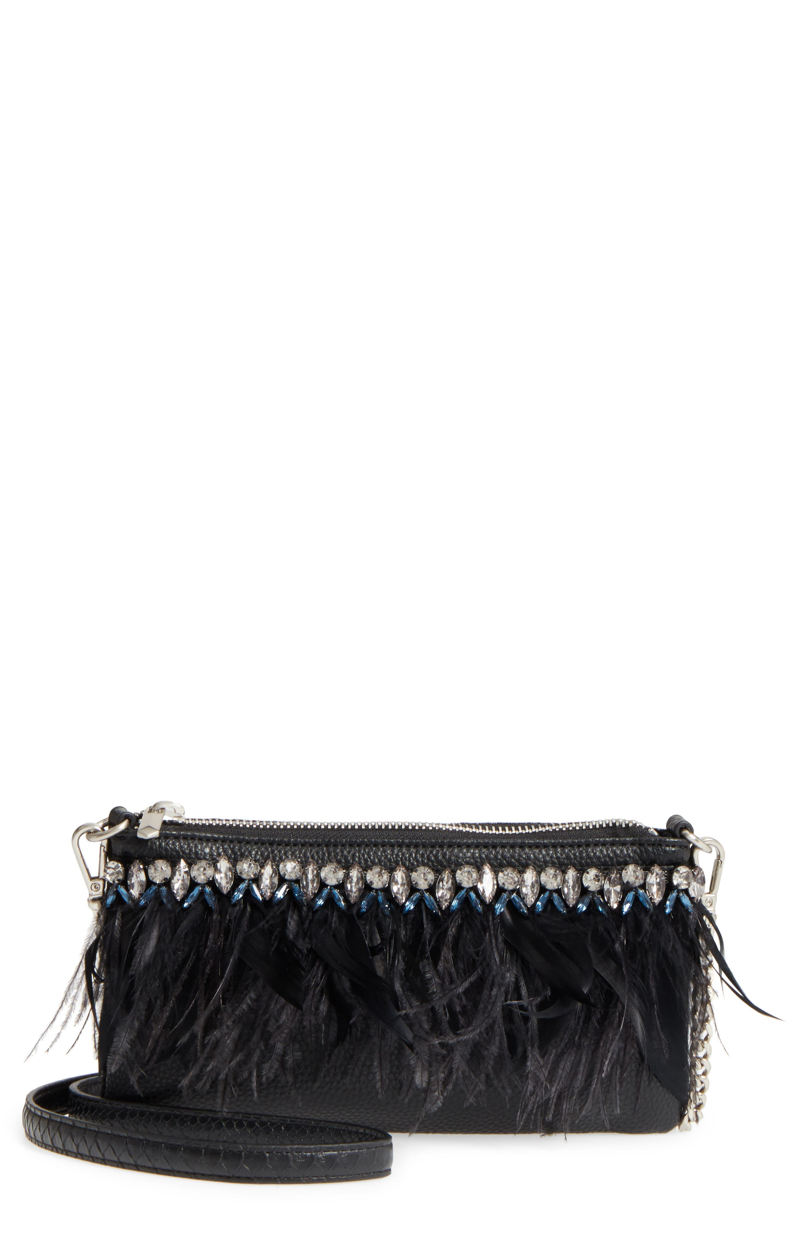 Carrina Faux Leather Convertible Clutch,                             Main thumbnail 1, color,                             Black