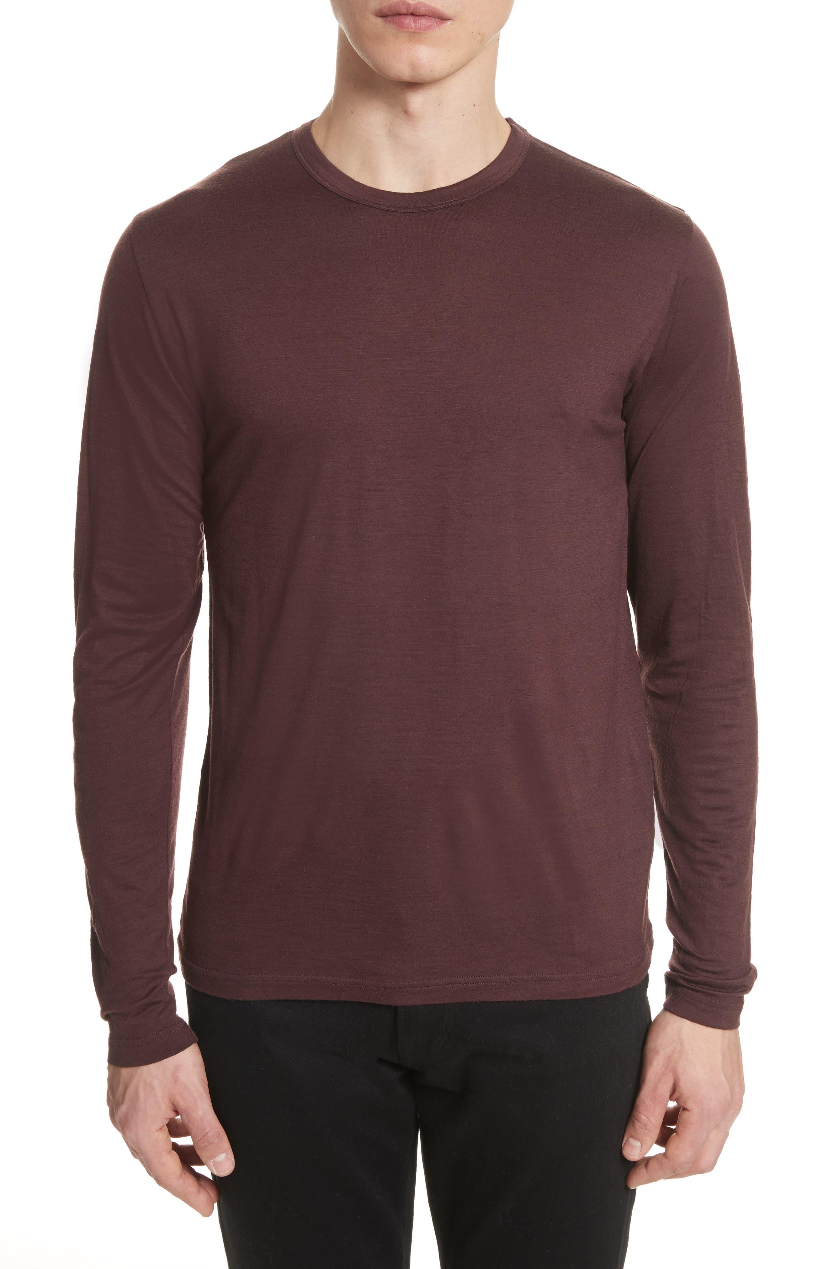 Mercerized Wool Long Sleeve T-Shirt,                         Main,                         color, Hematite Red