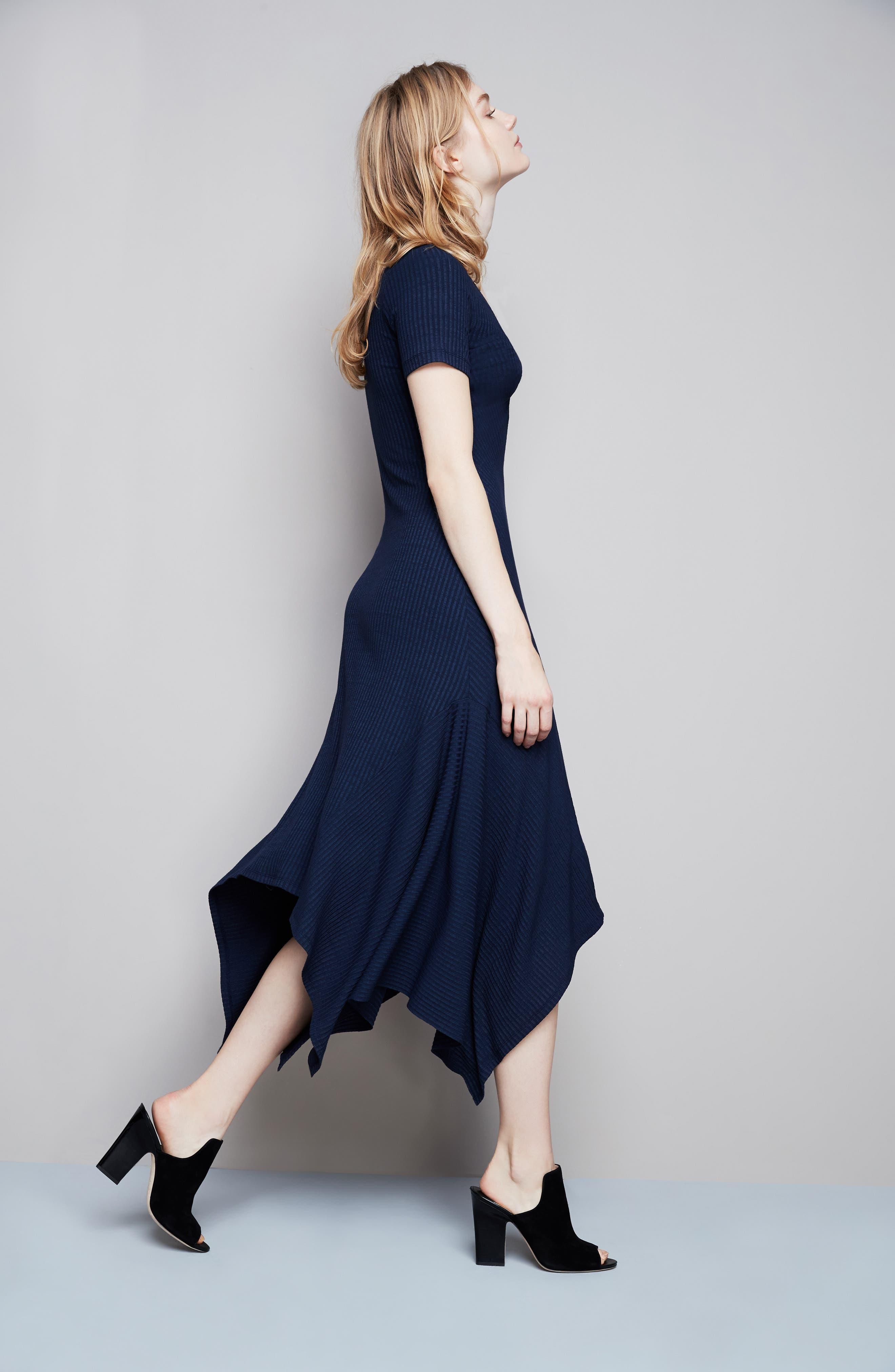 Knotted Rib Knit Midi Dress,                             Alternate thumbnail 2, color,                             Navy