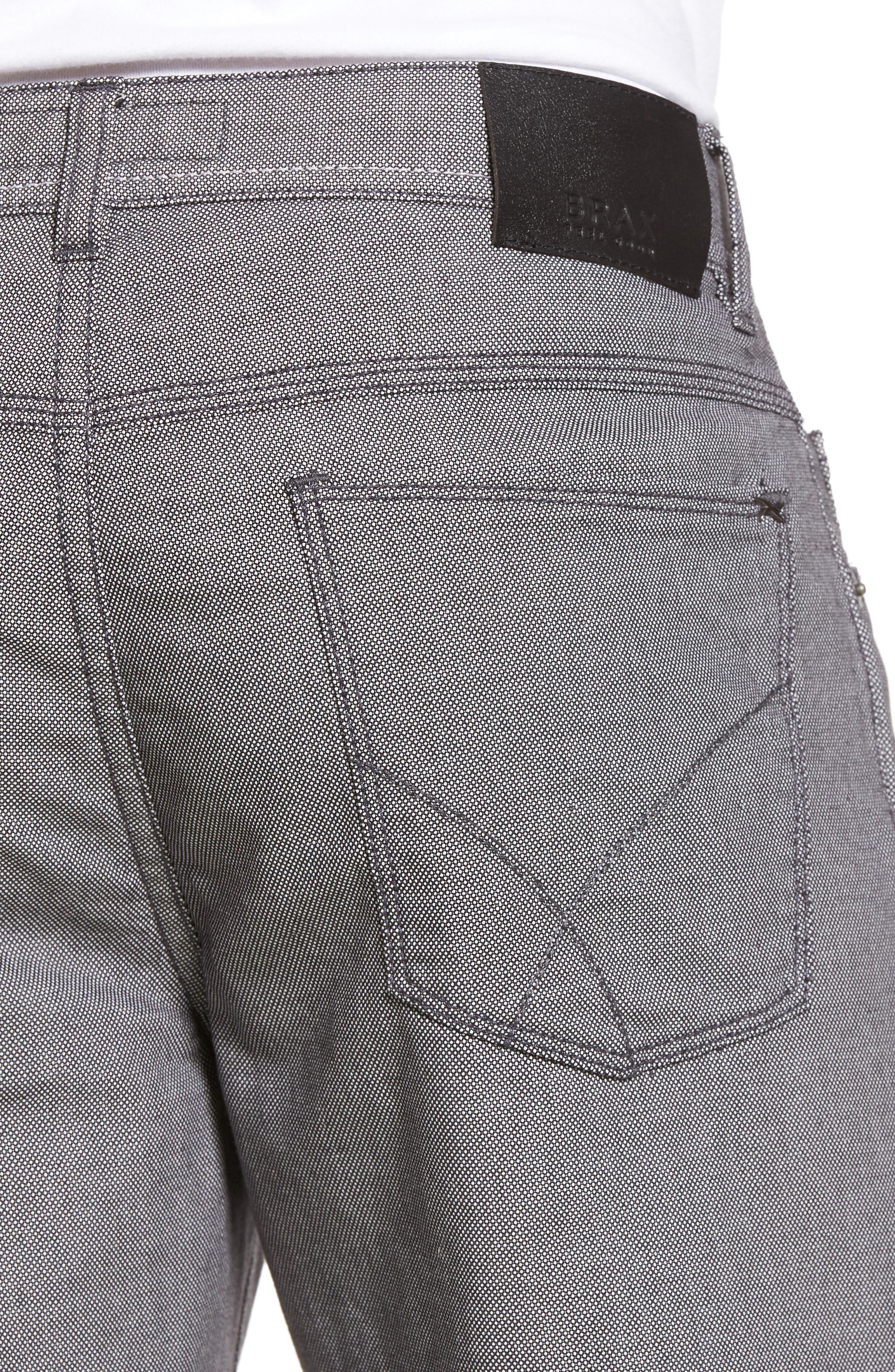 Cooper Bird's Eye Stretch Cotton Pants,                             Alternate thumbnail 4, color,                             Grey