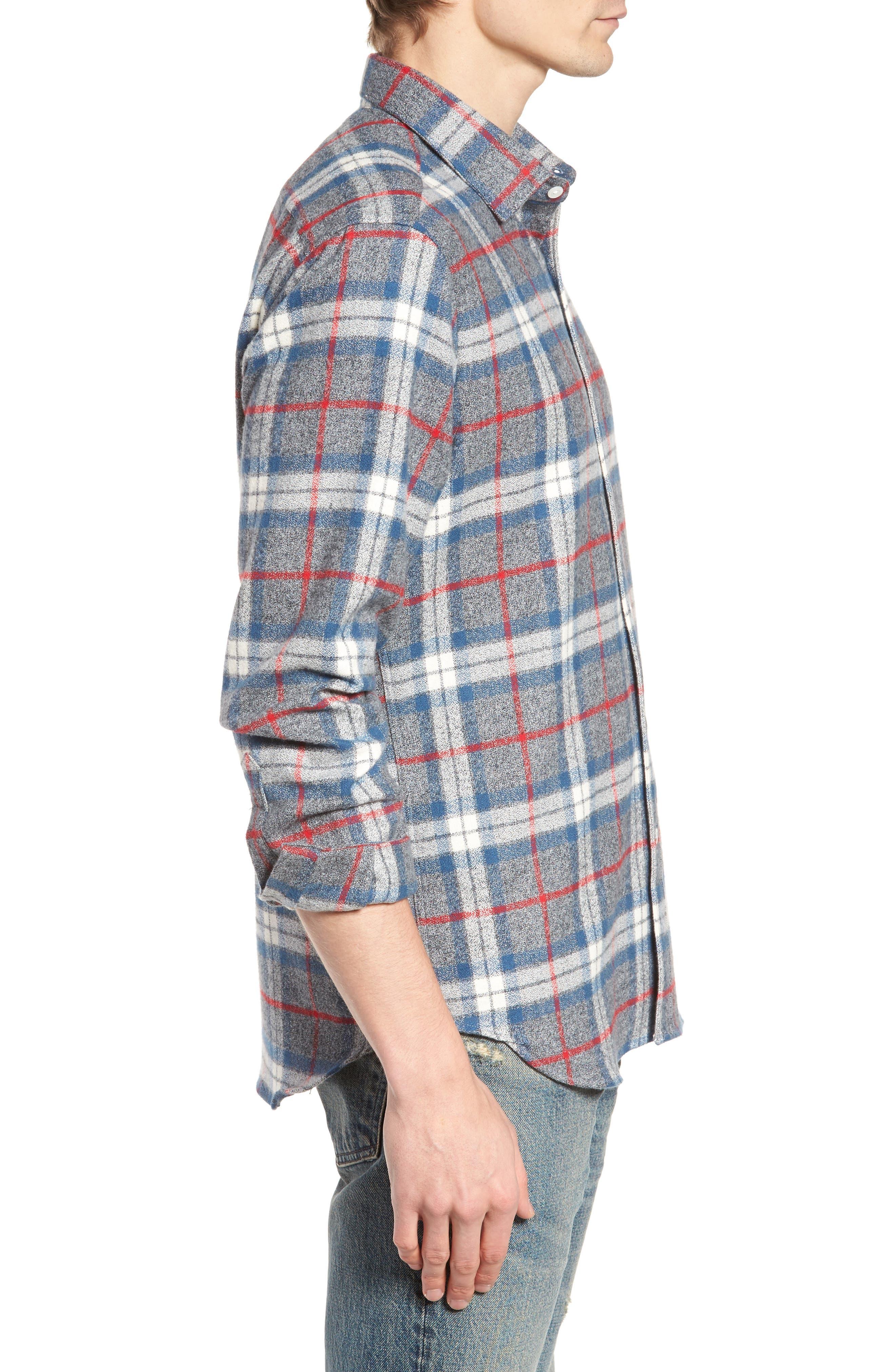 Brattleb Slim Fit Plaid Sport Shirt,                             Alternate thumbnail 3, color,                             Smoke Grey