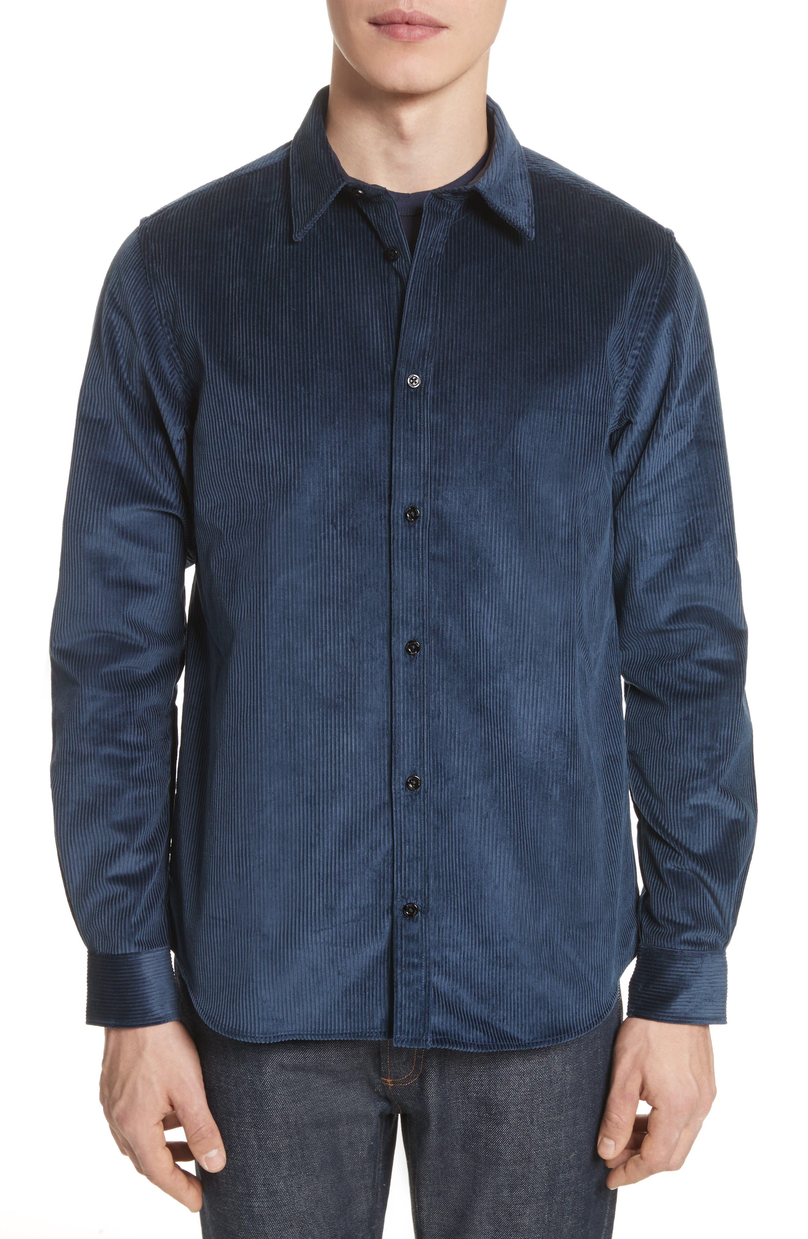 Hans Corduroy Shirt,                         Main,                         color, Petrol Blue