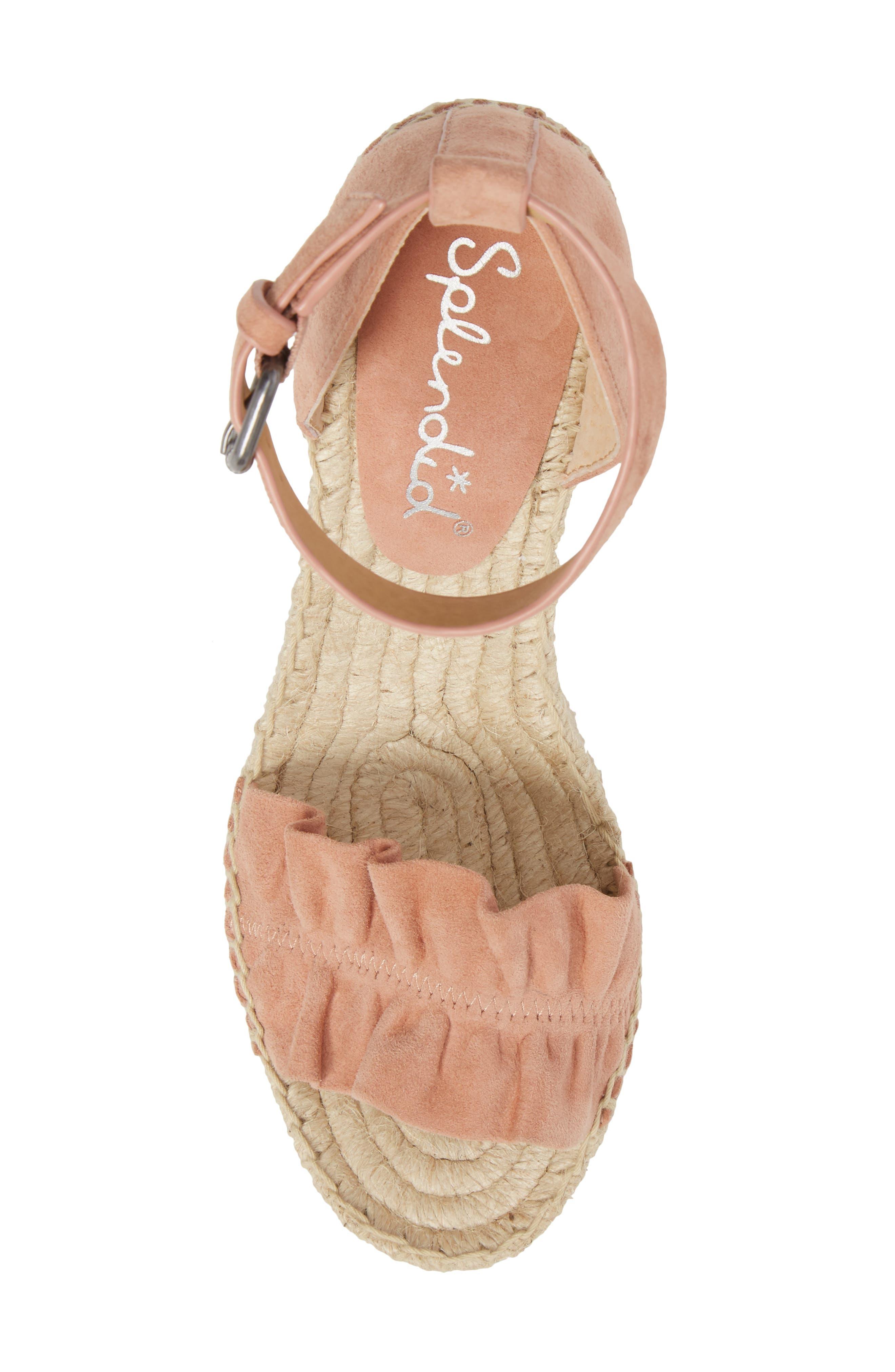 Bedford Espadrille Wedge Sandal,                             Alternate thumbnail 5, color,                             Dark Blush Suede