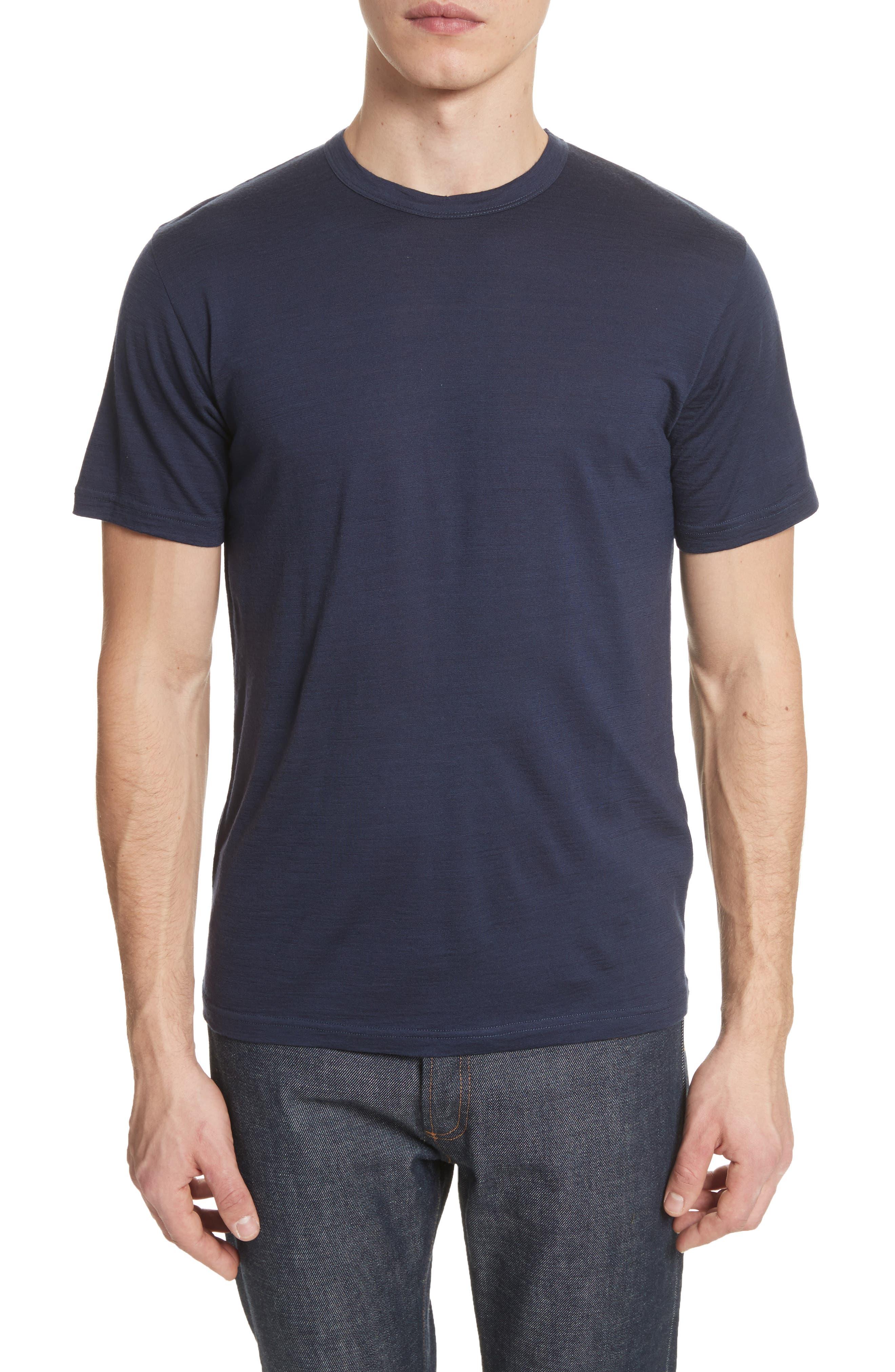 Jesper Mercerized Wool T-Shirt,                         Main,                         color, Navy