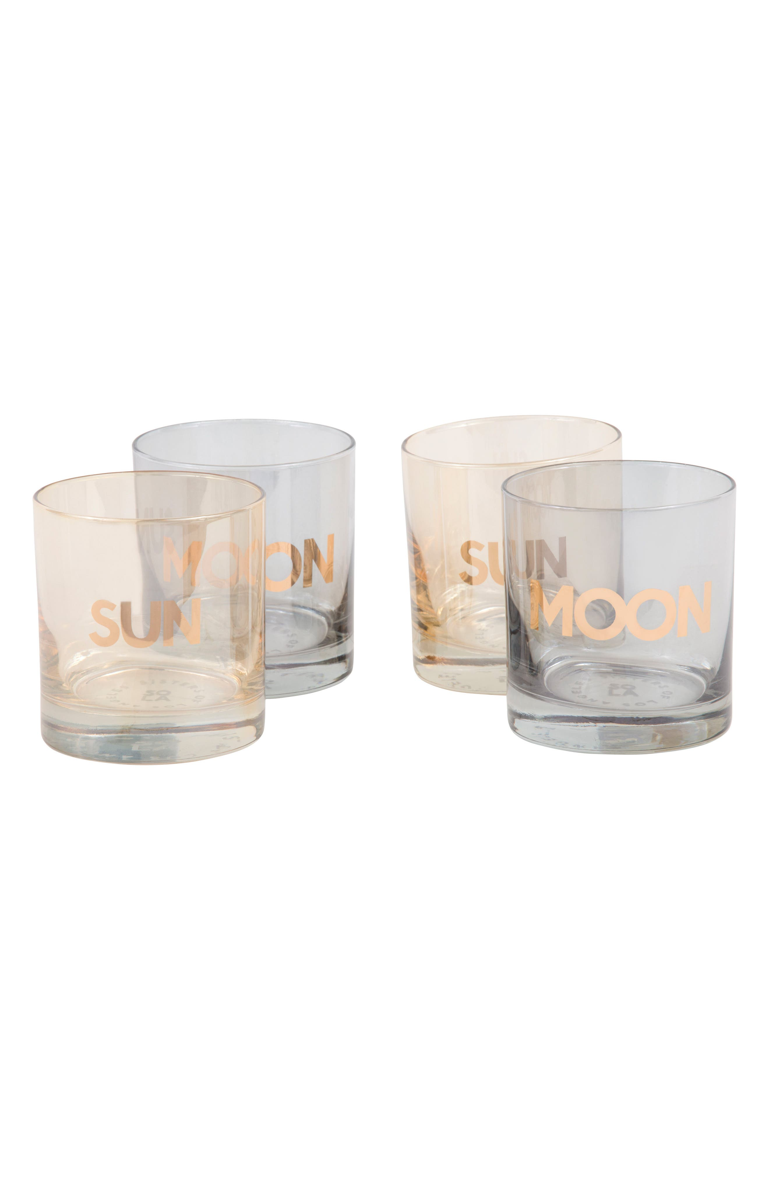 Sun/Moon Set of 4 Double Old Fashioned Glasses,                         Main,                         color, Multi/ Gold
