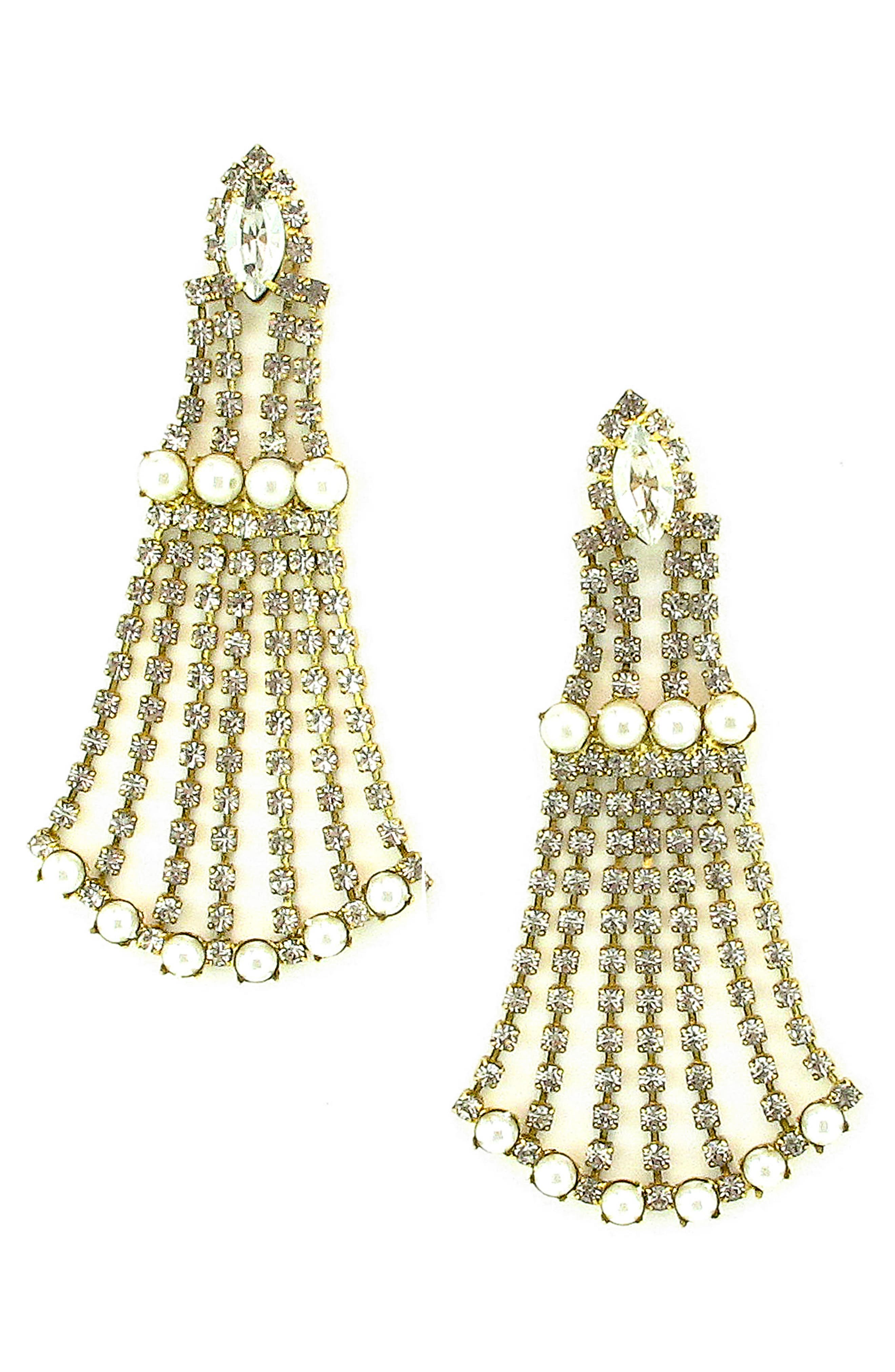 Peggy Crystal Drop Earrings,                             Main thumbnail 1, color,                             Pearl