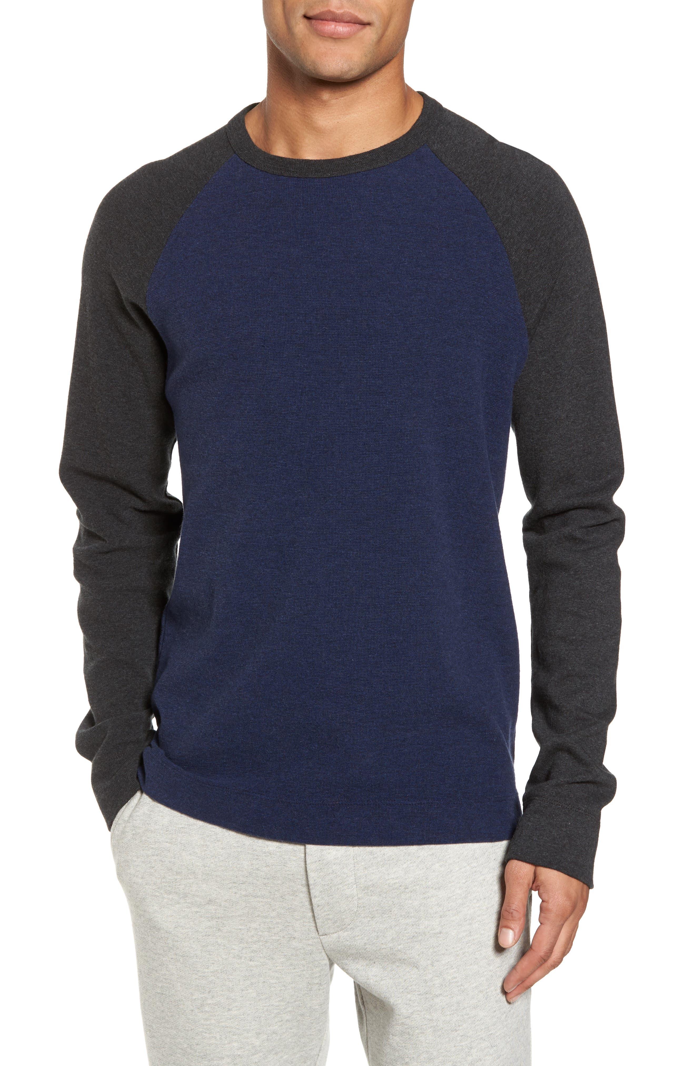 Thermal Knit Raglan Sweatshirt,                         Main,                         color, Heather Navy/ Heather Charcoal